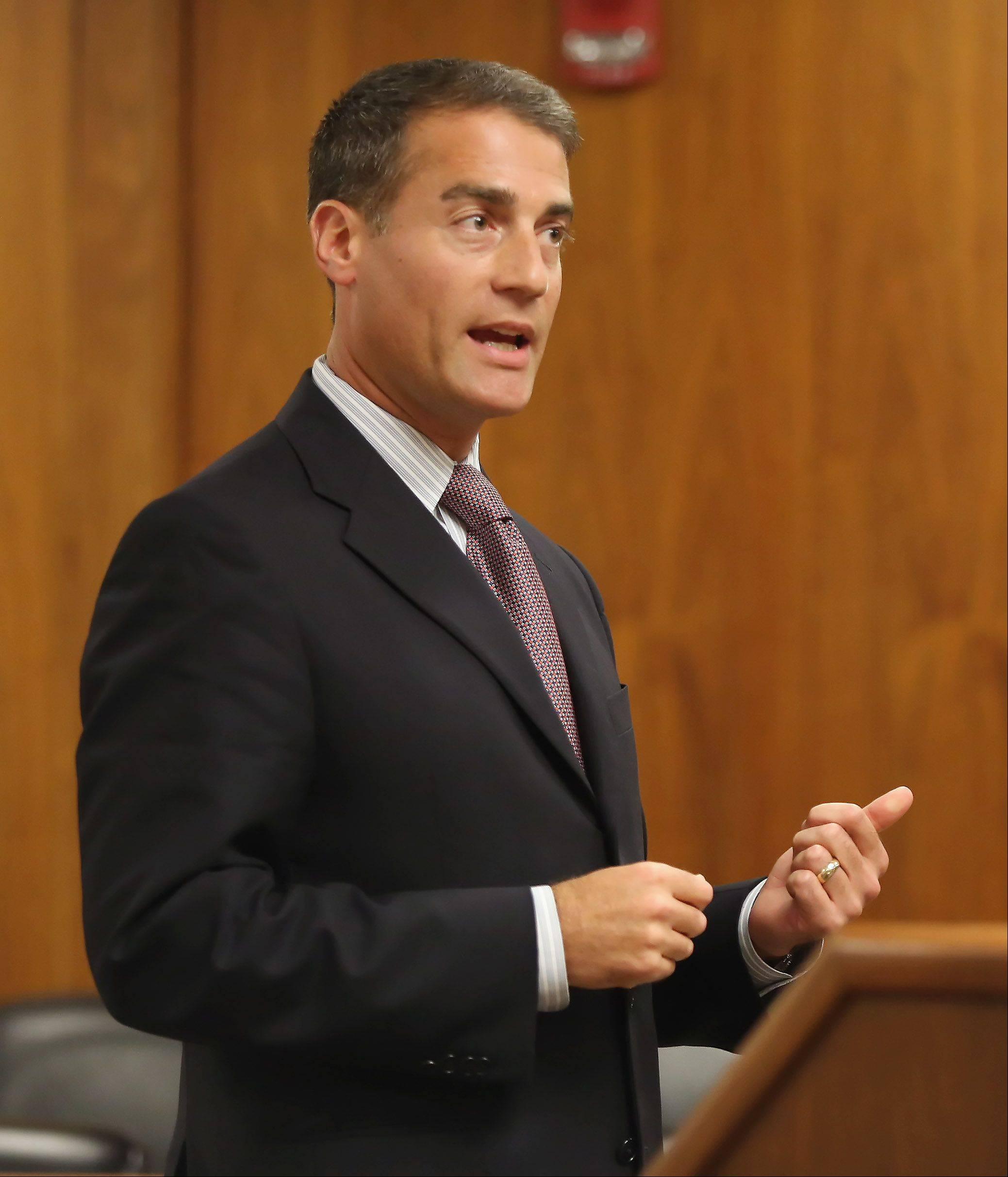 Defense attorney Kevin Rosner gives closing arguments during Ronald Stolberg's sentencing hearing Thursday in Waukegan.
