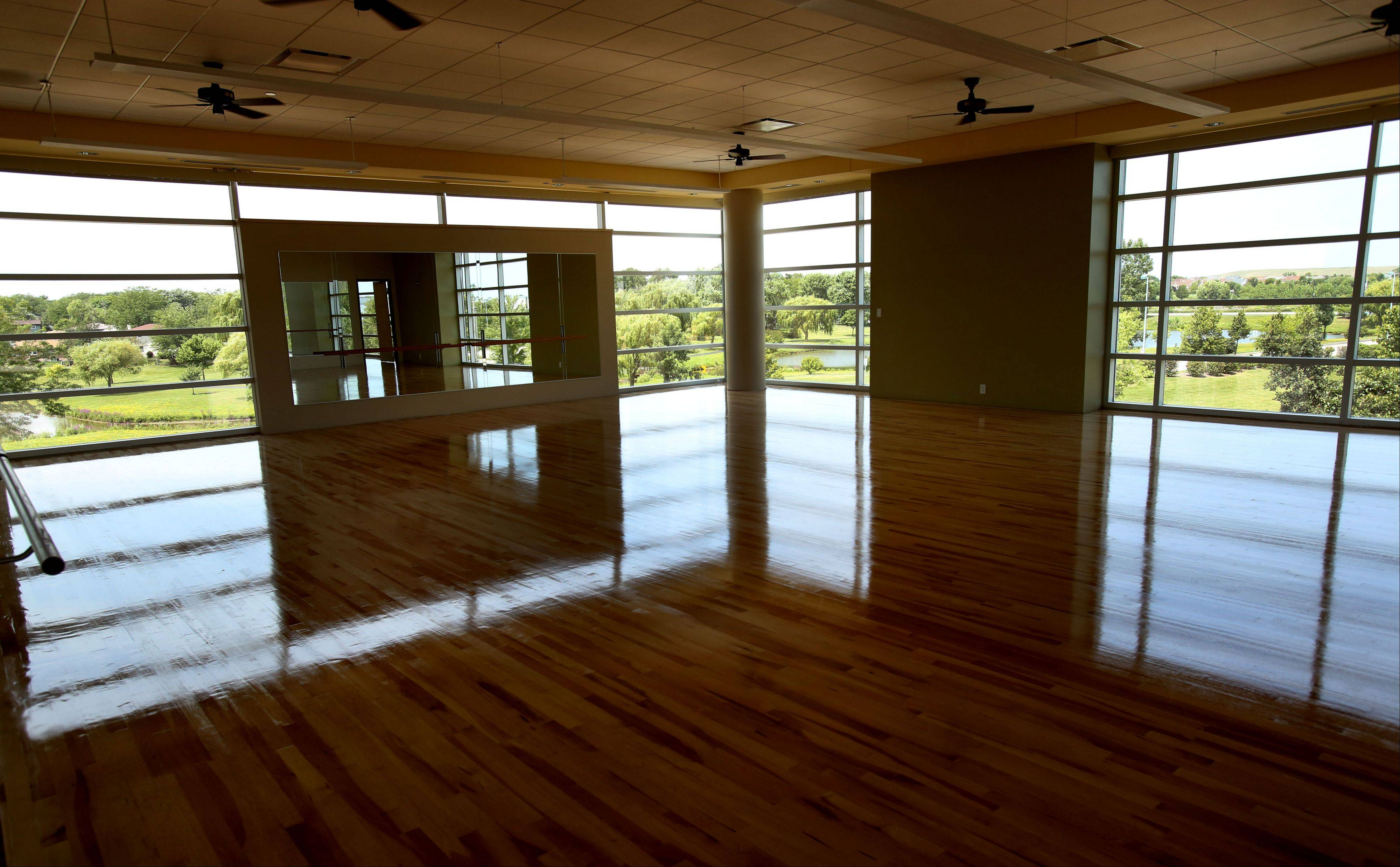 One of the exercise rooms of the new Fountain View Recreation Center in Carol Stream features expansive views of the nearby Town Center park.