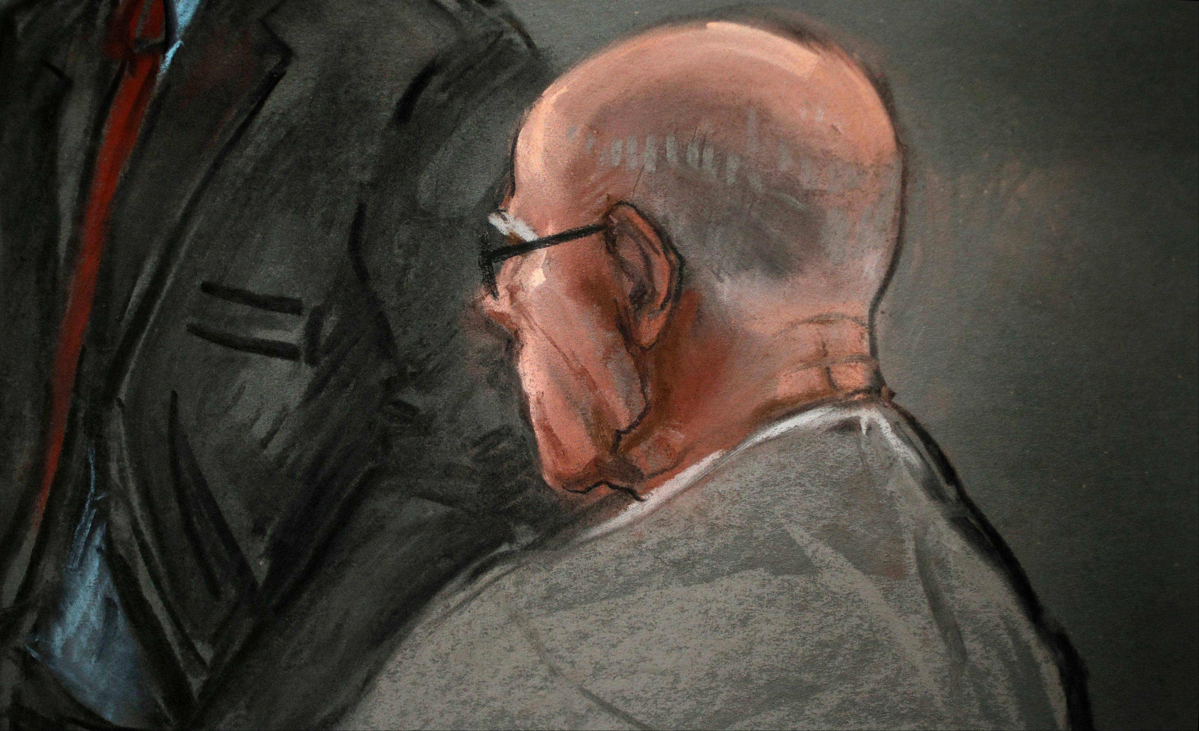 "In this courtroom sketch, James ""Whitey"" Bulger listens to defense attorney, Hank Brennan, during closing arguments at U.S. District Court, in Boston, Monday, Aug. 5, 2013. Bulger's lawyers used their closing arguments to go after three gangsters who took the stand against the reputed Boston crime boss, portraying them as pathological liars whose testimony was bought and paid for by prosecutors."
