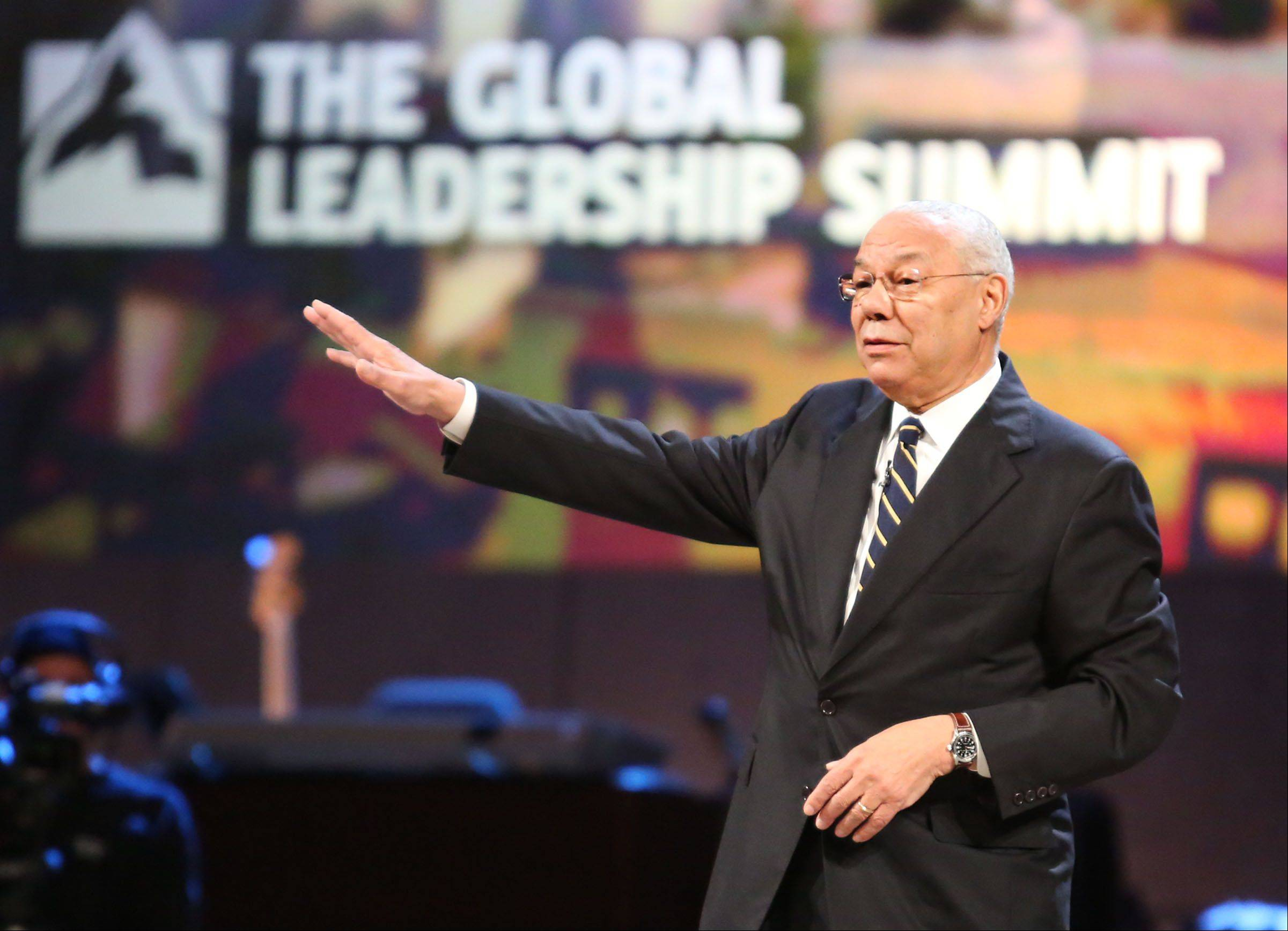 Gen. Colin Powell speaks at Willow Creek Community Church's Global Leadership Summit in South Barrington on Thursday.