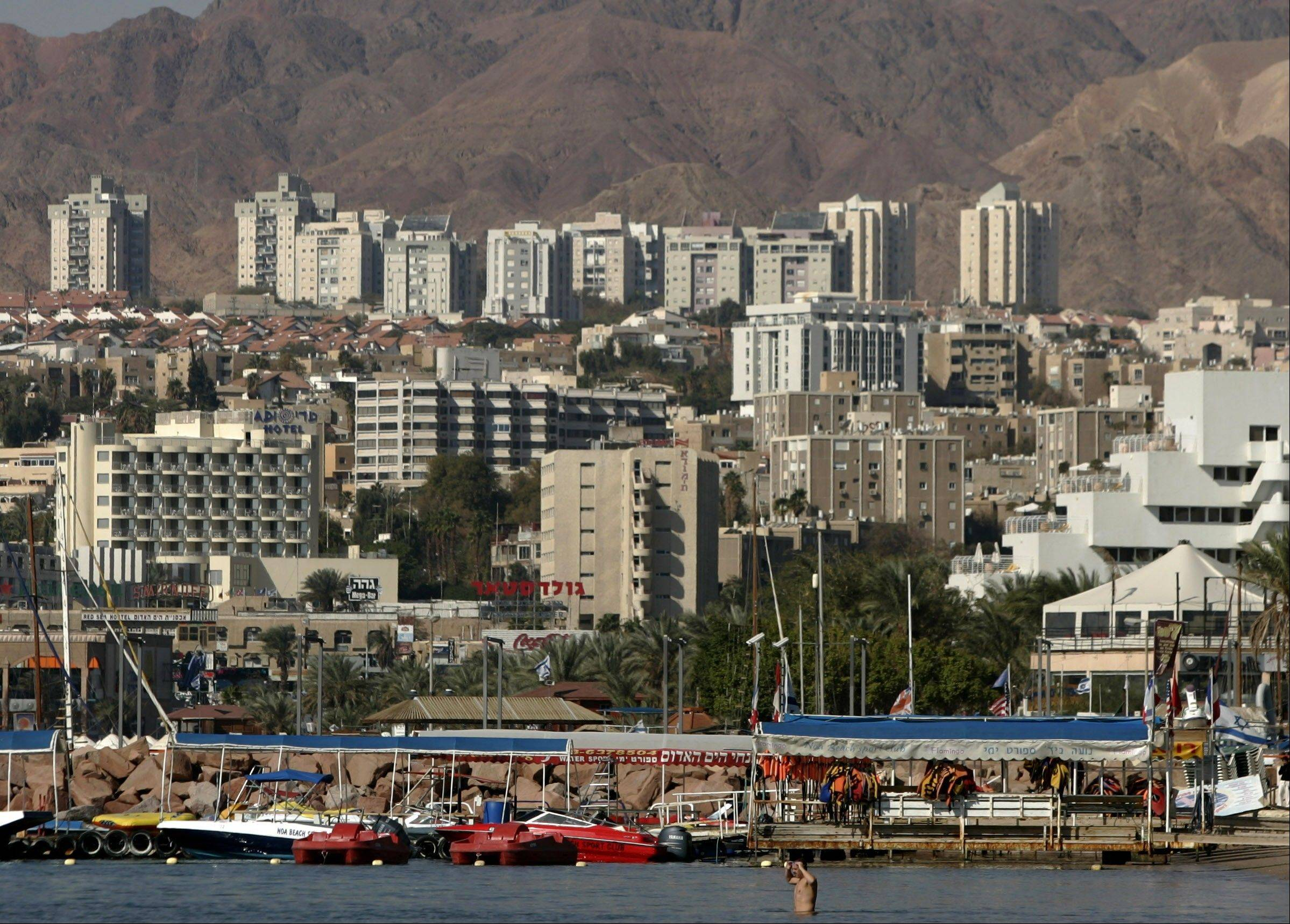 In this Jan. 30, 2007, file photo, a general view of the Red Sea resort city of Eilat is seen in southern Israel on the border with Egypt. Israel's military said Thursday, Aug. 8, 2013, it has ordered the closure of the airport in the Red Sea resort of Eilat, citing unspecified security reasons.
