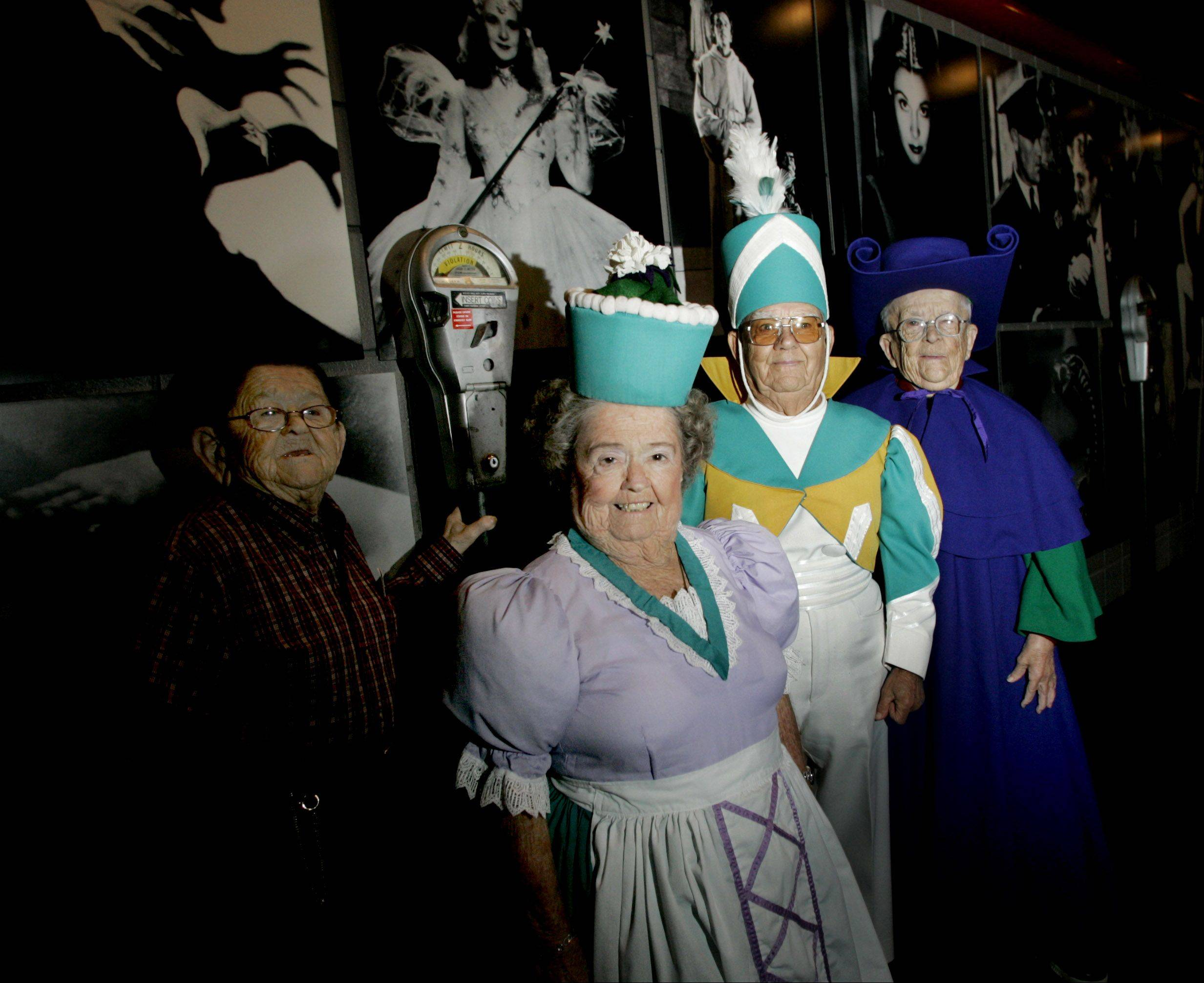 From left, Karl Slover, Menhardt Raabe, Margaret Pellegrini, Clarence Swenson and Menhardt Raabe, all munchkins that appeared in the film The Wizard of Oz. in Woodridge at the Hollywood Blvd movie theater for a showing of the film in November 2005.
