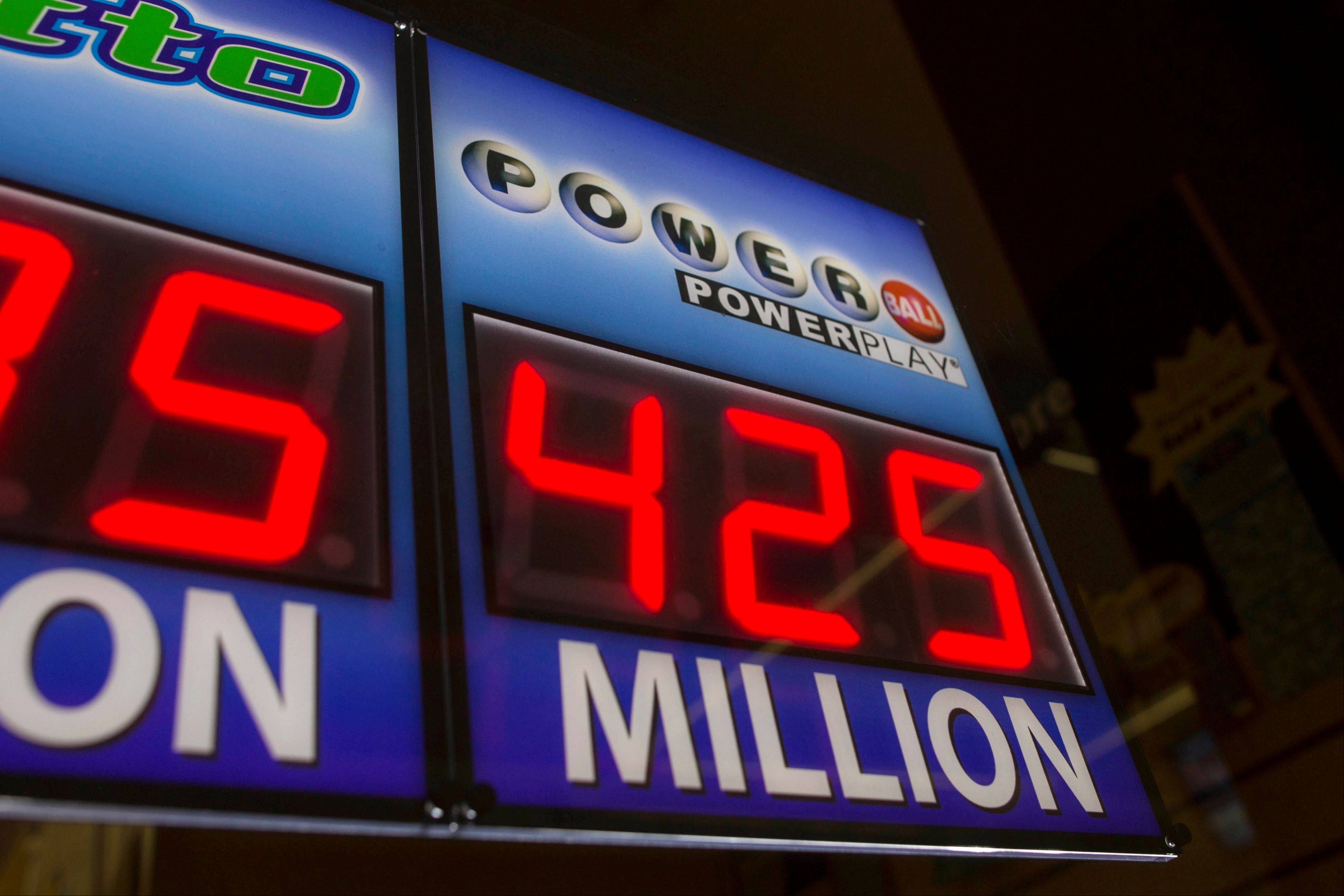 This sign in Chicago promoted the Powerball lottery before Wednesday's drawing.