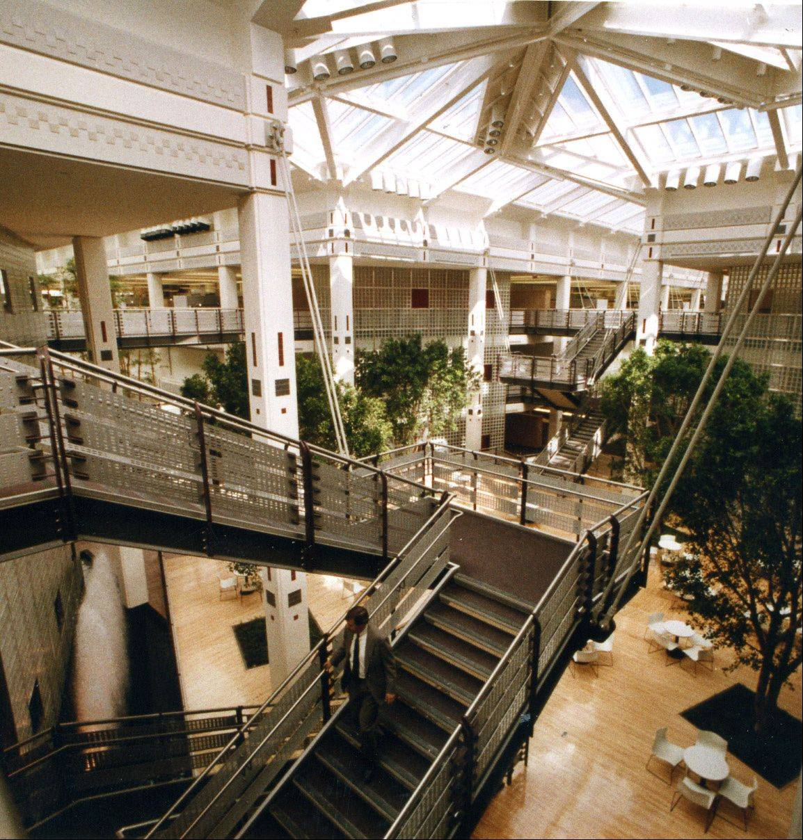 This interior view of the AT&T building in Hoffman Estates shows the atriums and open floor plan that could make it more difficult to subdivide for smaller tenants.