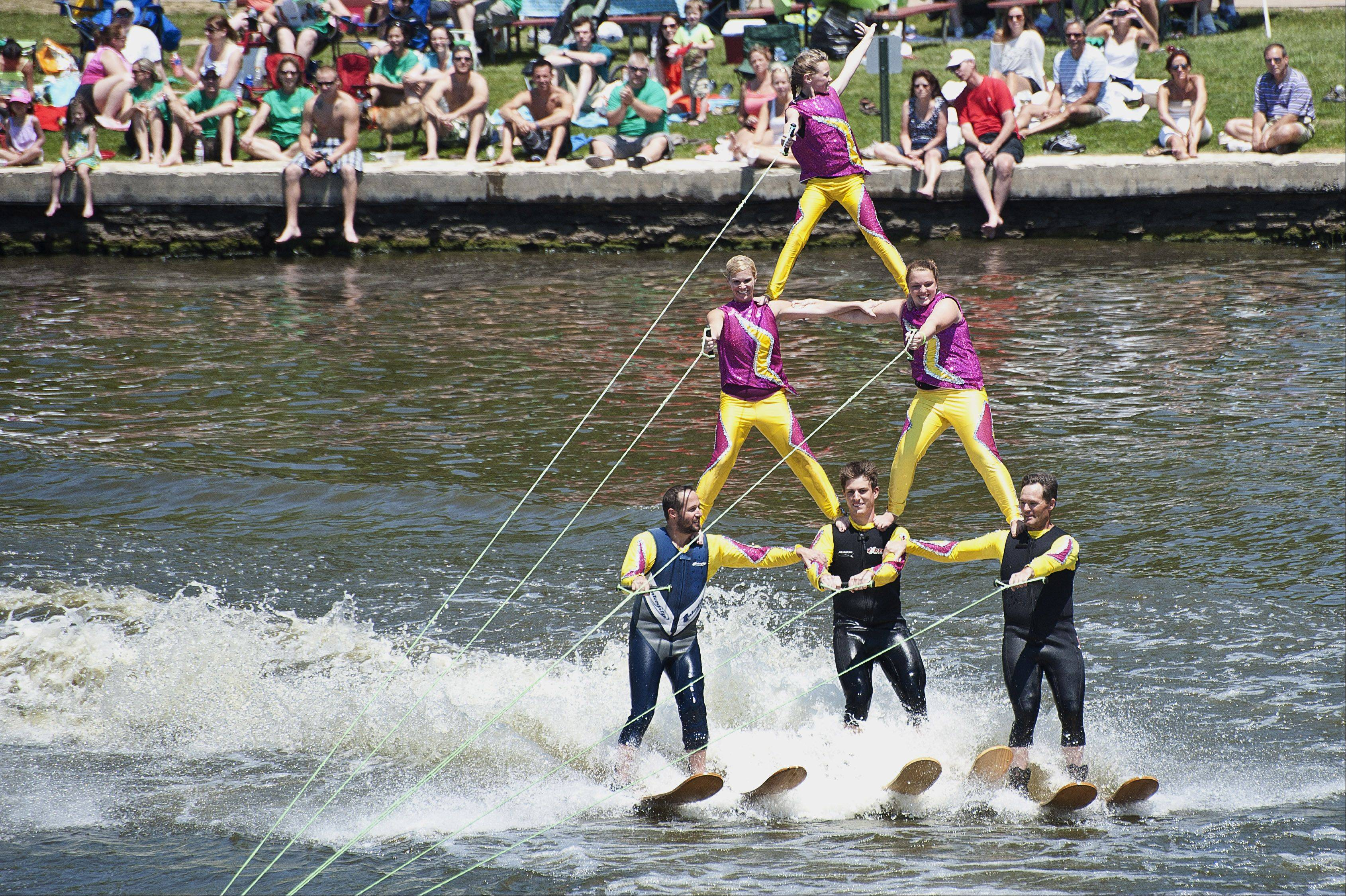 Members of the Wonder Lake Ski Team entertain spectators at the Pride of the Fox's 30th annual RiverFest held in downtown St. Charles. The festival is the major recreational draw to the river in the city.