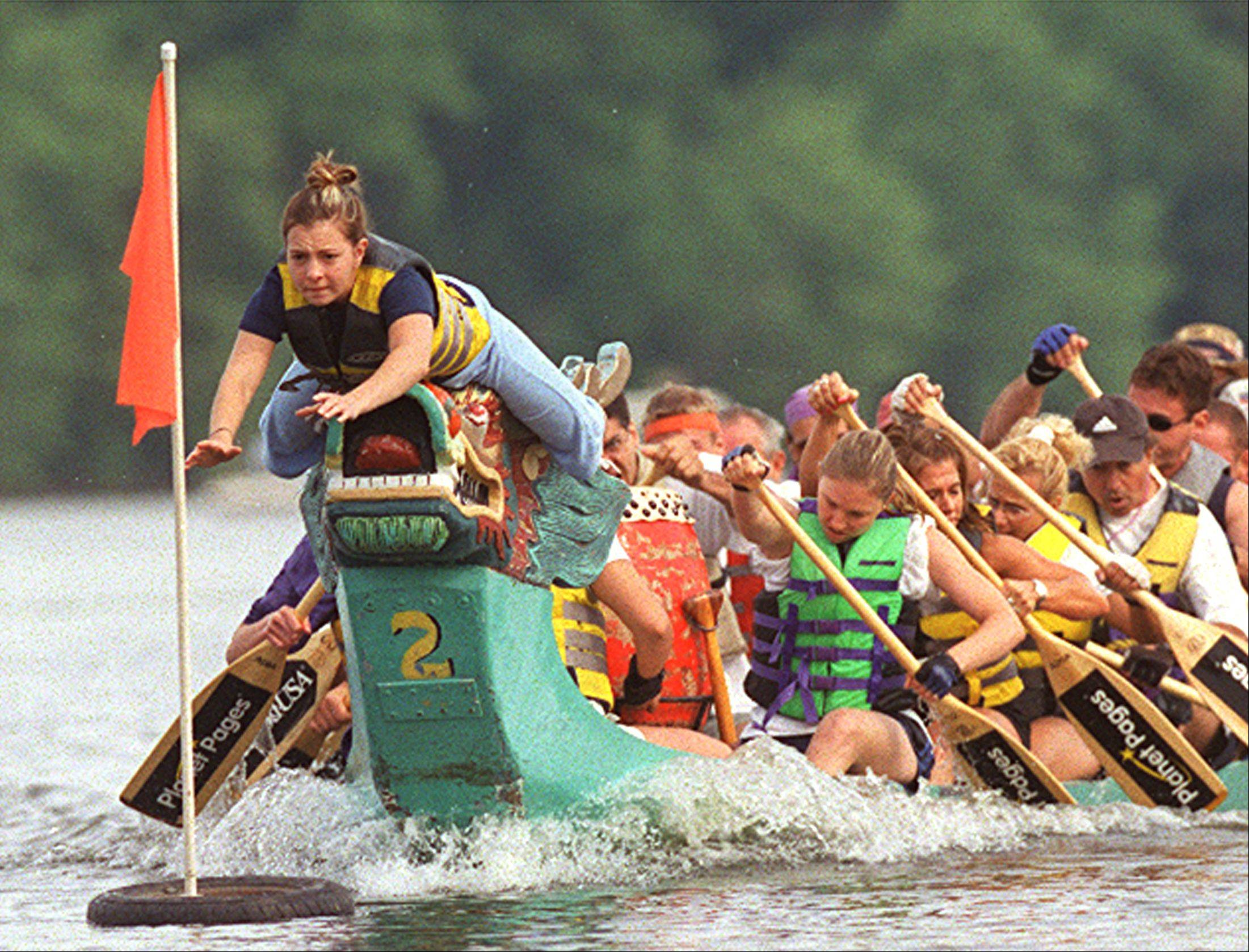Dragon Boat races during the Pride of the Fox RiverFest represent one of the few active uses on the river in St. Charles that draws large groups of people.