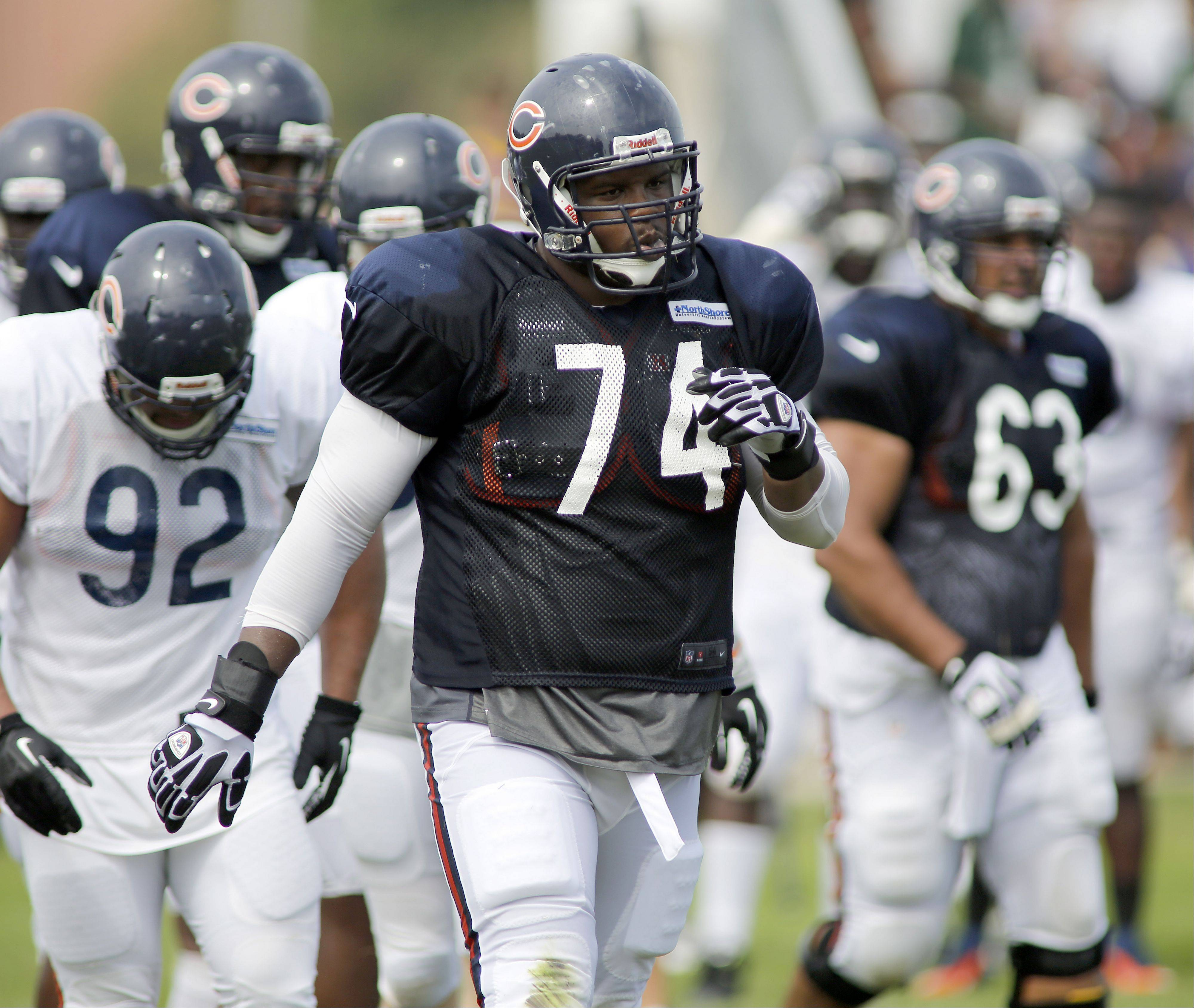 Chicago Bears tackle Jermon Bushrod (74) during the Chicago Bears training camp on the campus of Olivet Nazarene University in Bourbonnais, Wednesday.