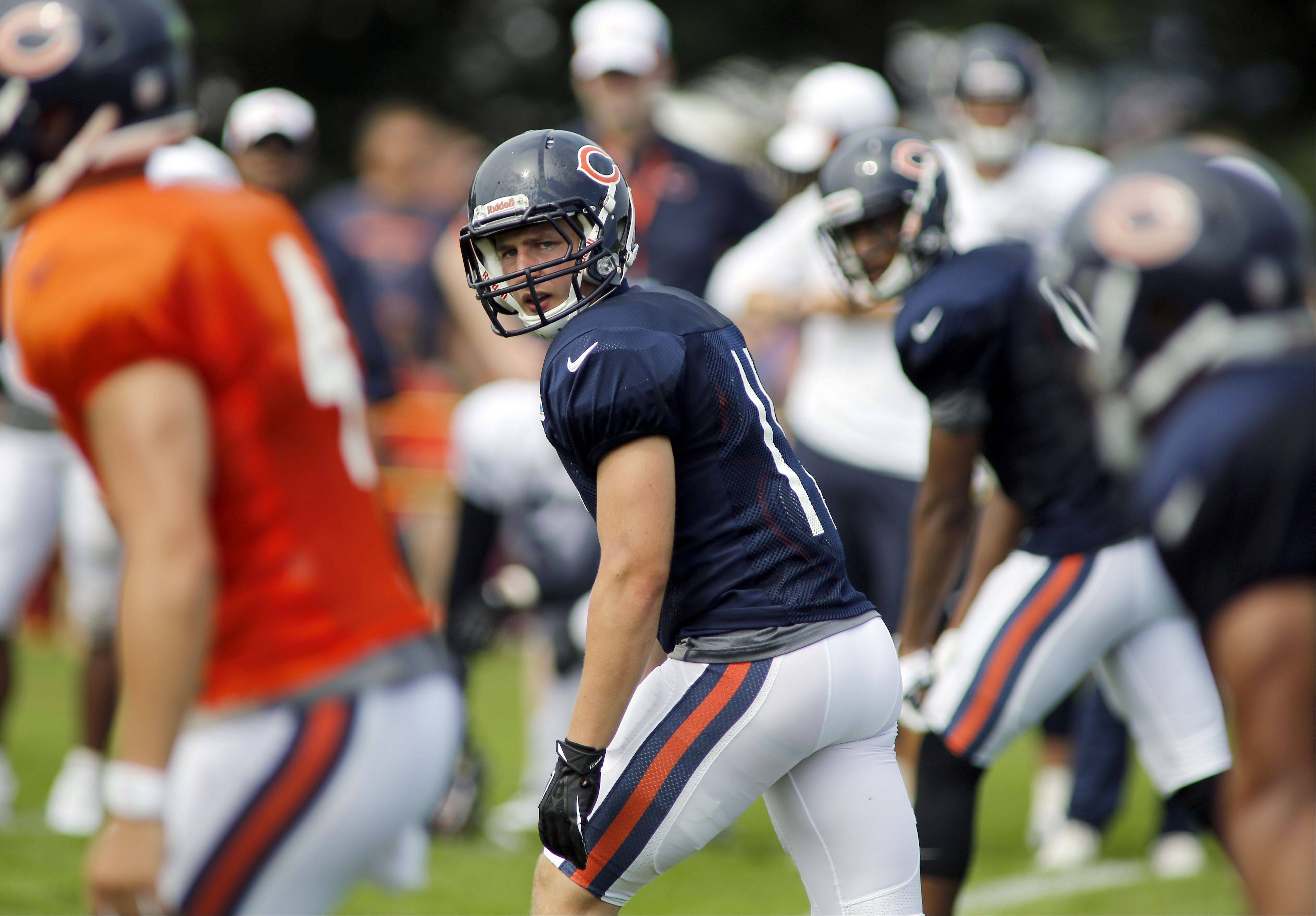 Bears wide receiver Josh Lenz (11) competes during training camp at Olivet Nazarene University in Bourbonnais.