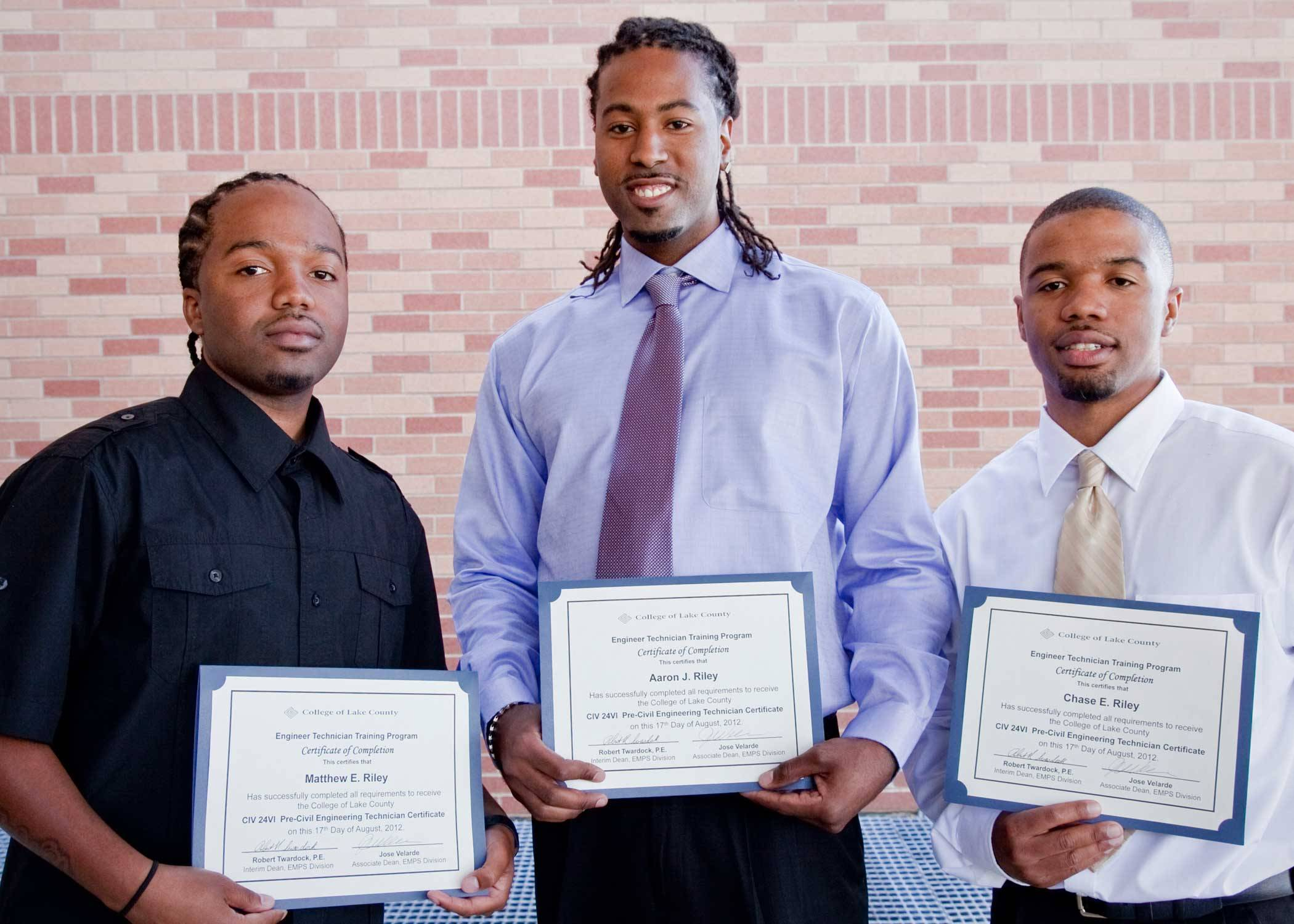 The Riley brothers graduated from the 2012 Engineering Technician Training program at CLC.