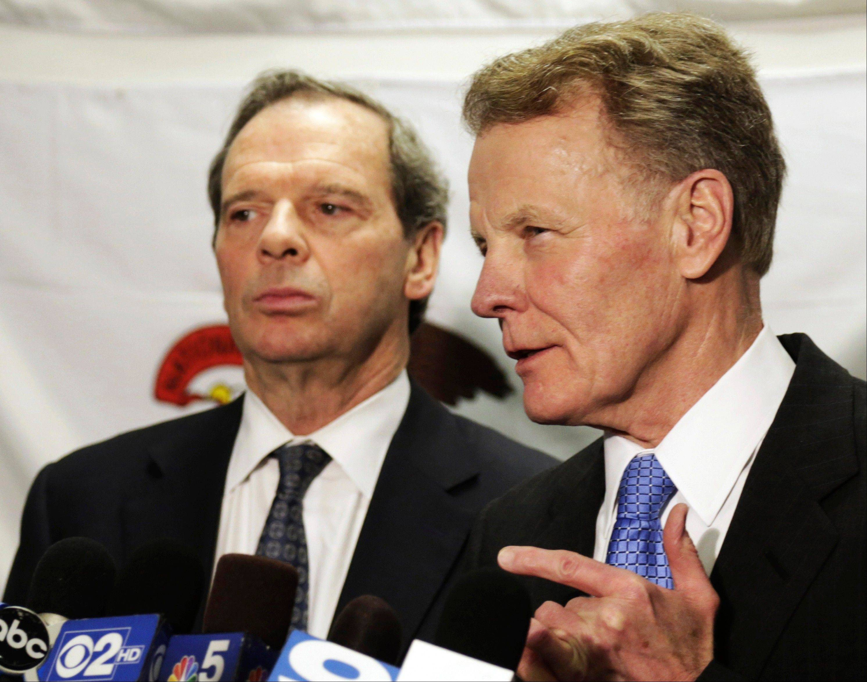 Illinois House Speaker Michael Madigan and Senate President John Cullerton, left, sued Gov. Pat Quinn last week over lawmakers' suspended pay.