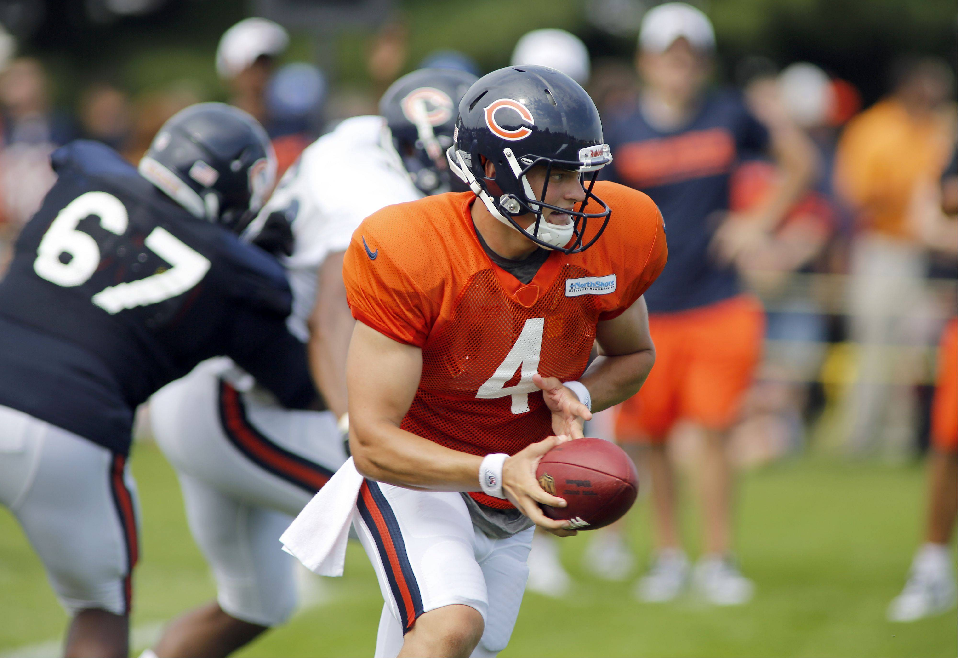 Bears backups like quarterback Matt Blanchard (4) figure to see most of the action in tonight's preseason game against Carolina.