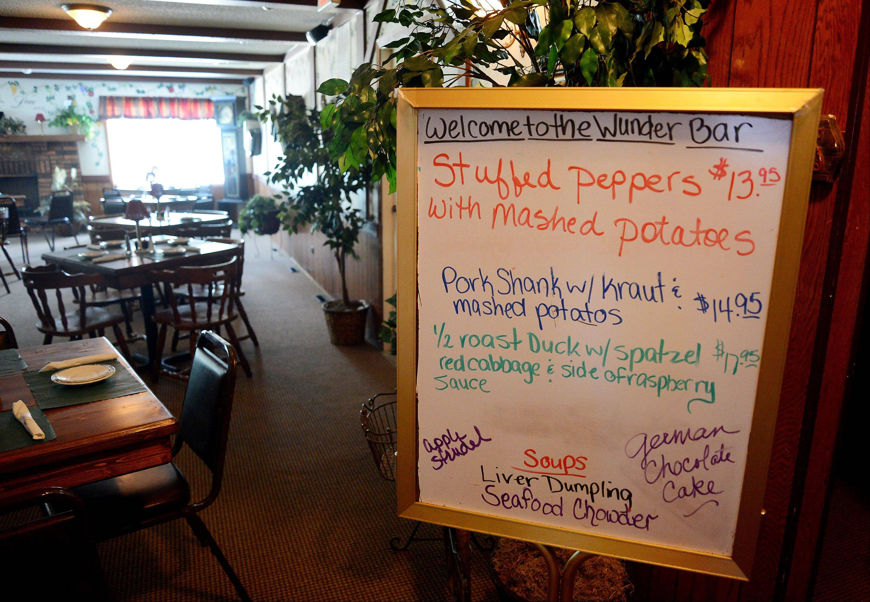 Specials are posted at the entrance to Wunder-Bar's dining room.