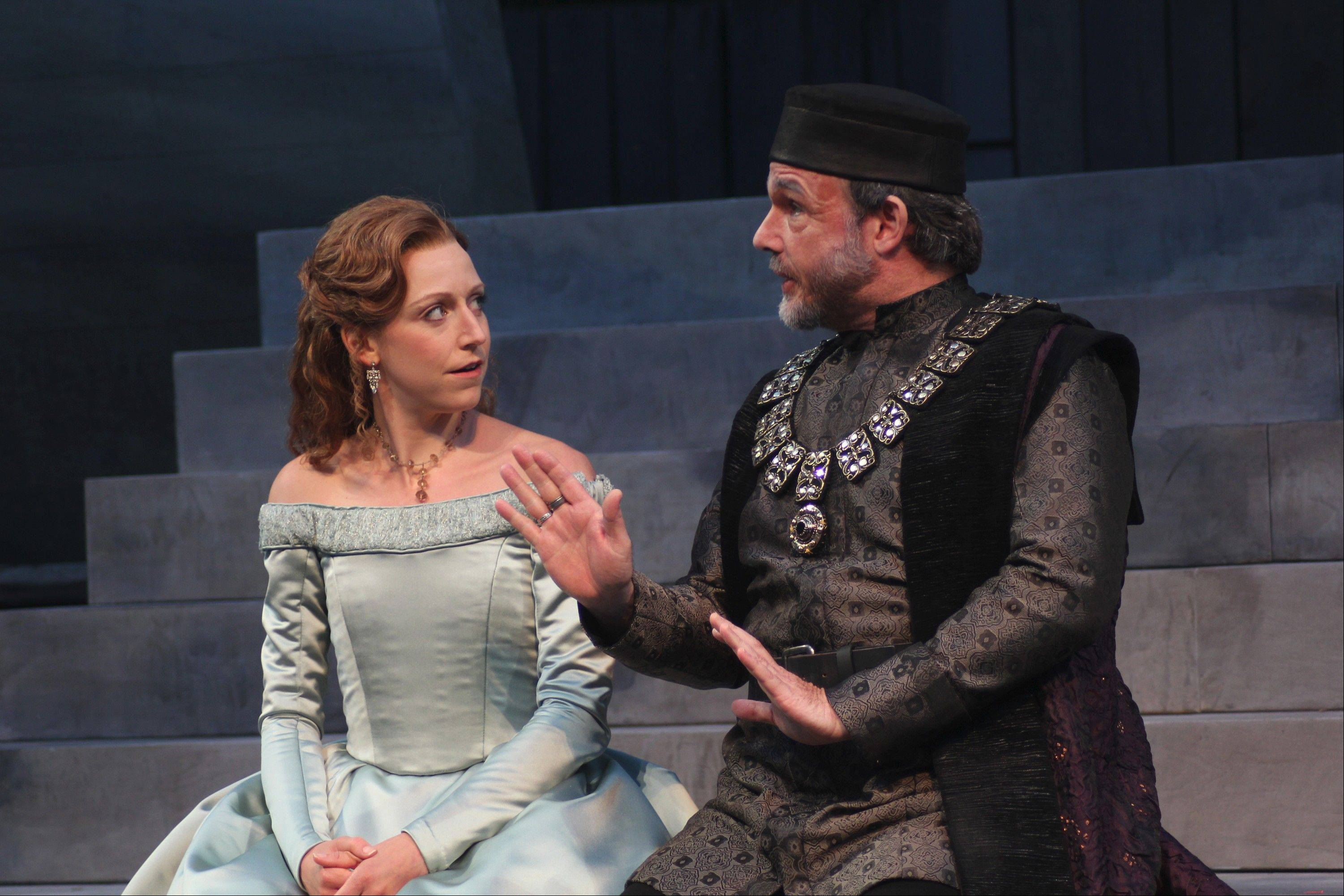 "Downers Grove native Cristina Panfilio plays Ophelia, talking to Polonius (David Daniel), in ""Hamlet."" The production runs through October at the American Players Theatre in Spring Green, Wis."