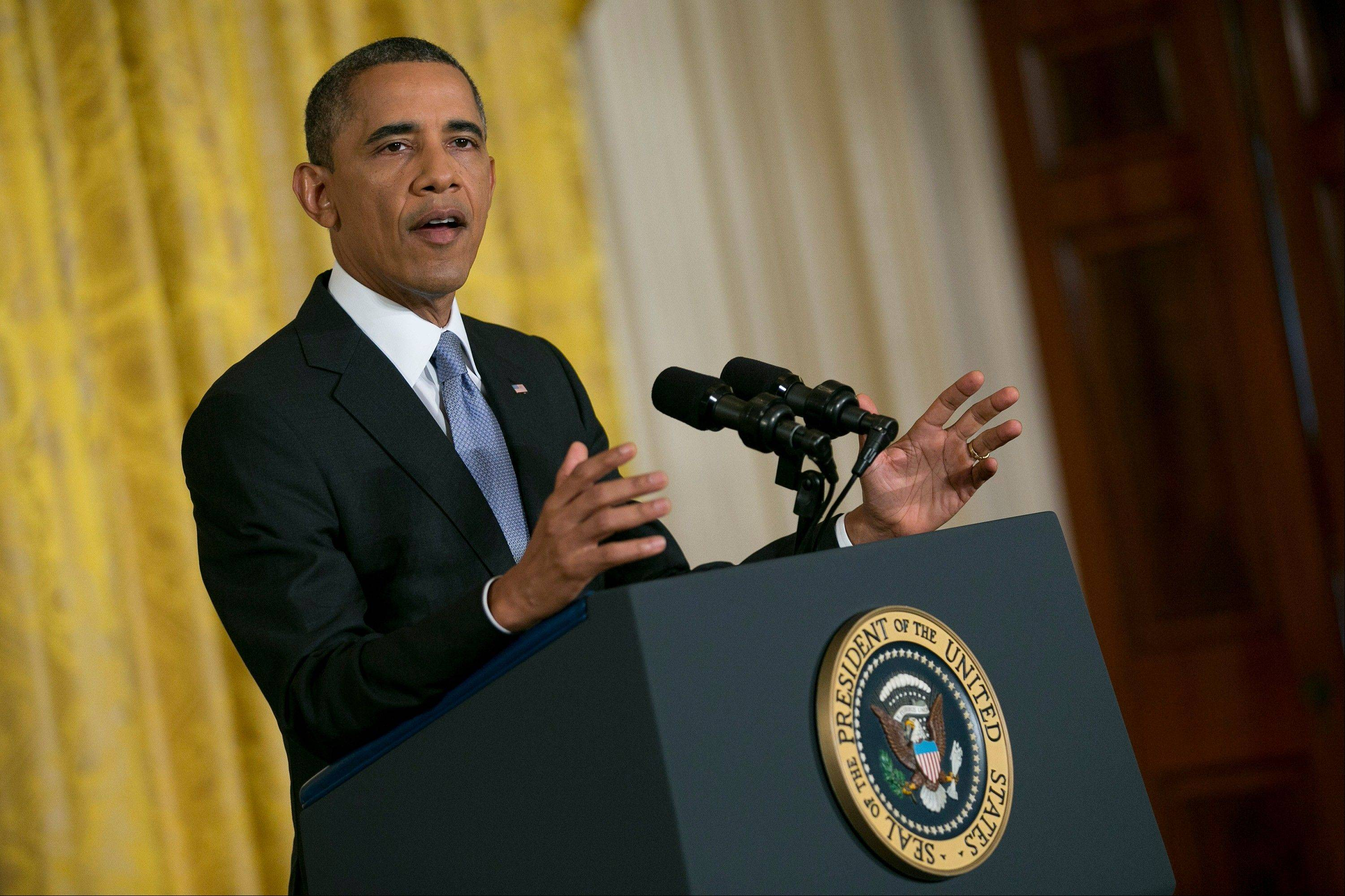 President Obama speaks Friday during a news conference in the East Room of the White House in Washington, D.C.