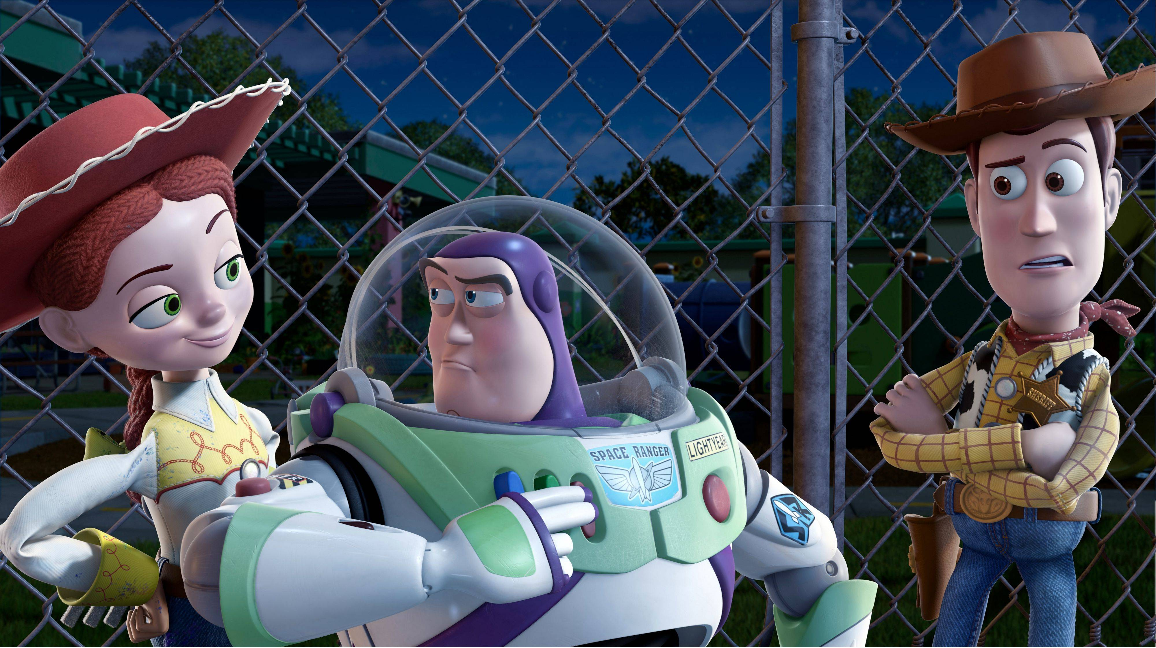 "From left, Jessie, voiced by Joan Cusack, Buzz Lightyear, voiced by Tim Allen and Woody, voiced by Tom Hanks are in a scene from, ""Toy Story 3."" With more than 45,000 fans expected to attend, Disney is teasing several of the studio's upcoming animated movies."