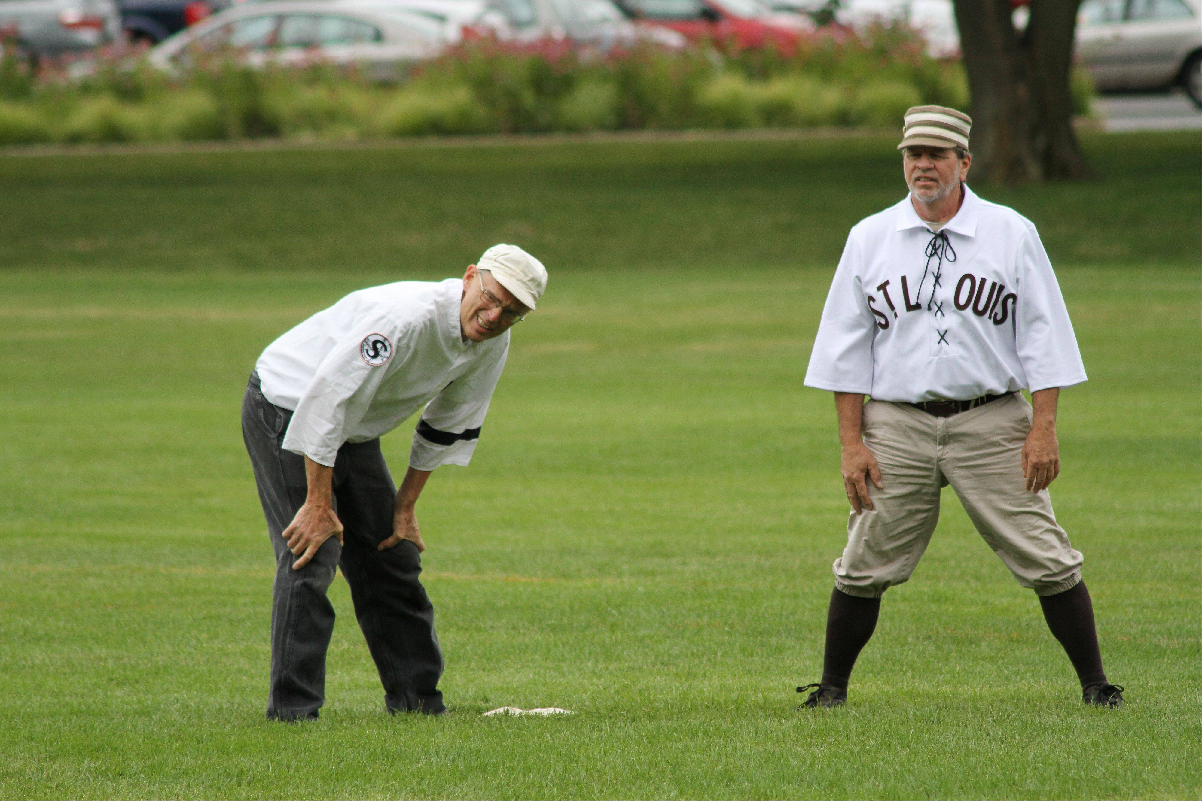 "Gary ""The Professor"" Schiappacasse of Vernon Hills (left) stands at third base during a game against the St. Louis Brown Stockings at Cantigny Park."