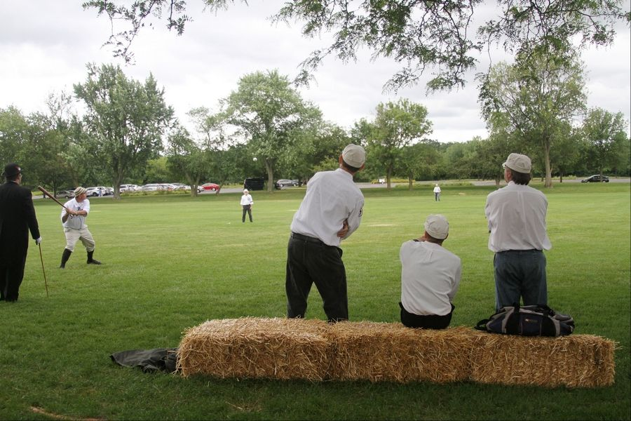 "Gary ""The Professor"" Schiappacasse (left) watches his team, the Chicago Salmon, play at Cantigny Park."