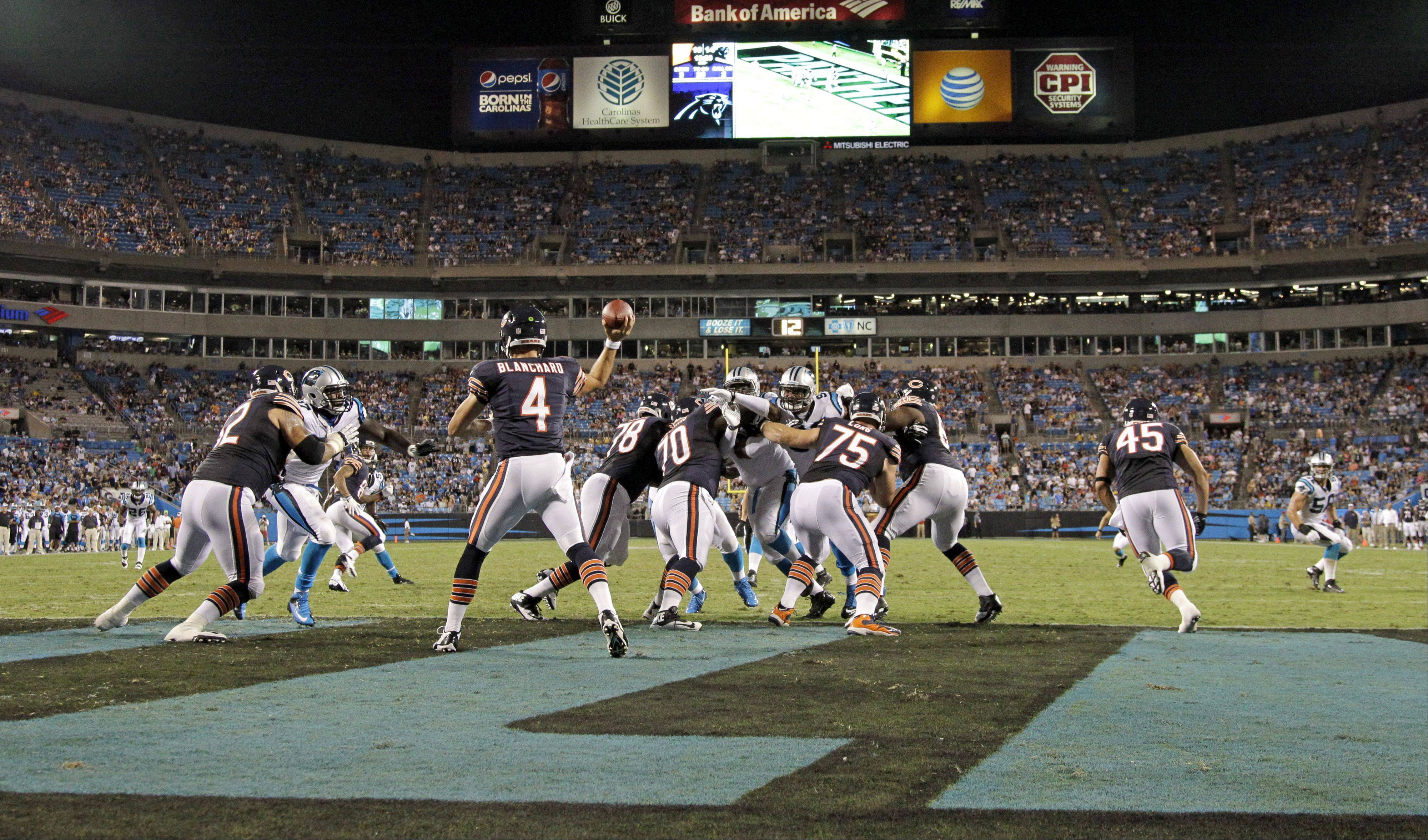 Chicago Bears' Matt Blanchard (4) throws a pass against the Carolina Panthers during the second half of a preseason NFL football game in Charlotte, N.C., Friday, Aug. 9, 2013.