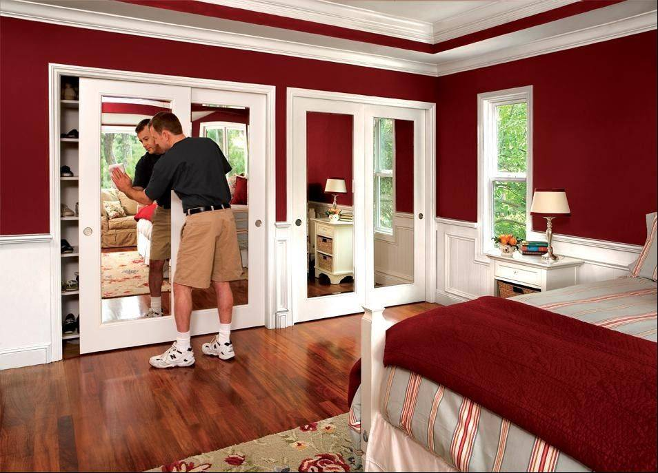 HomeStory�s sliding doors with inlaid mirrors are popular for closet installations.
