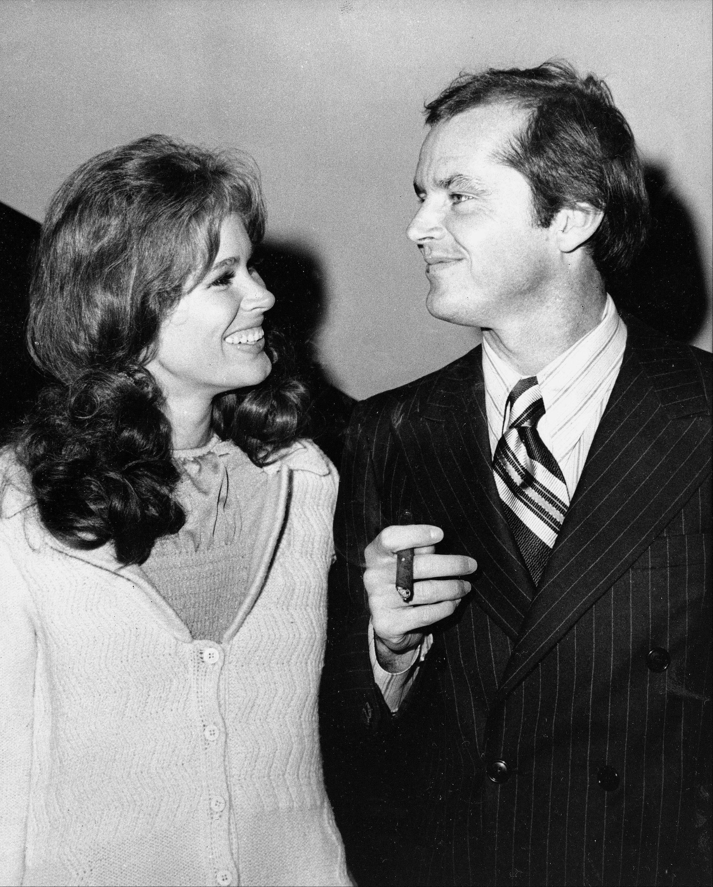 "Jack Nicholson, right, and co-star Karen Black appear together at New York's Philharmonic Hall to attend the premiere of their new film ""Five Easy Pieces."""