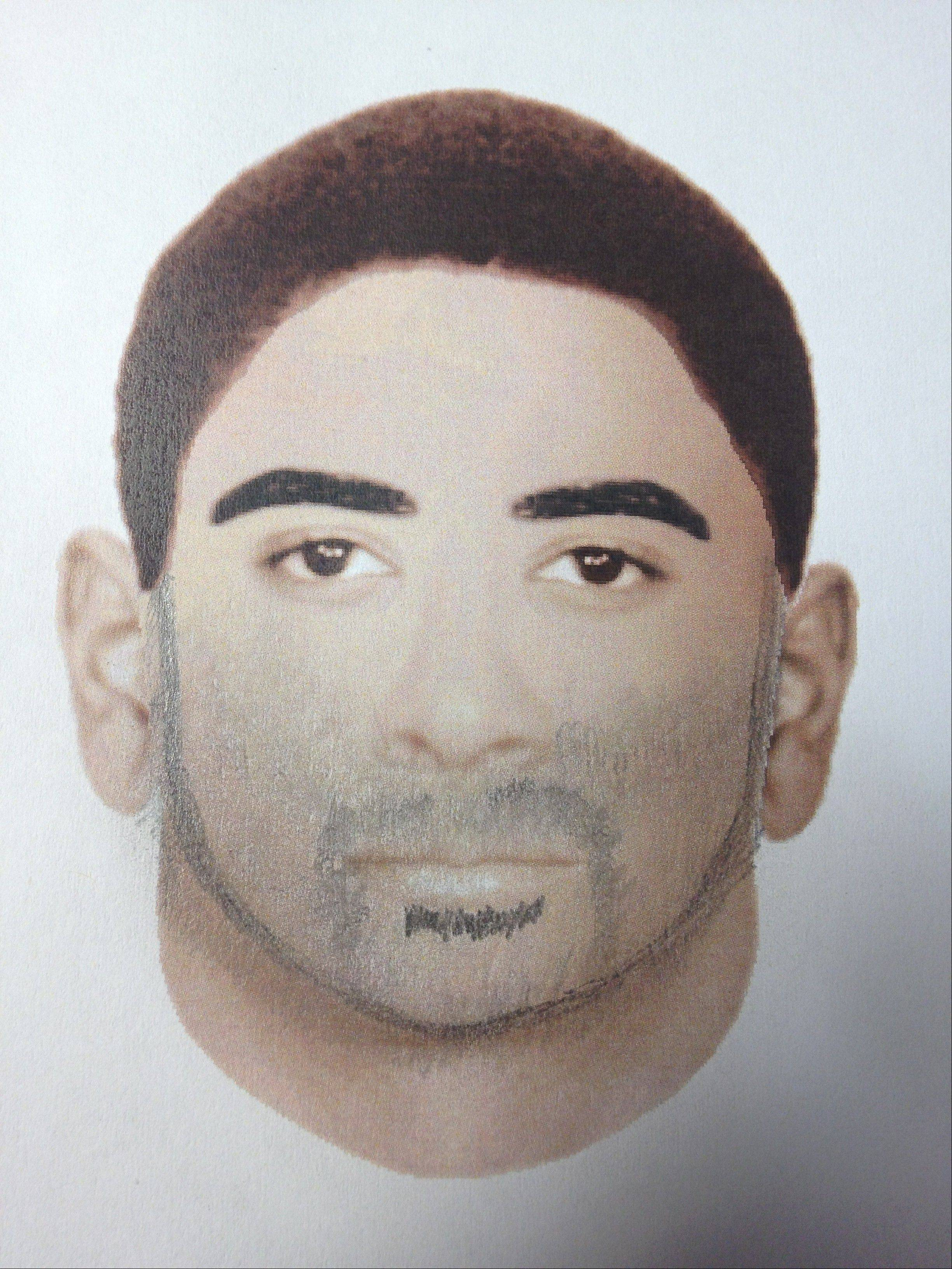 A computer generated likeness of the first attacker's face.