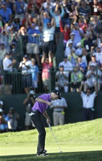 Oak Hill finally had enough elements for a strong test Saturday in the PGA Championship, and Jim Furyk was up for the fight. Grinding to the end in swirling wind that cast doubt on so many shots, Furyk closed with two big putts — one for birdie to regain the lead, one for par to keep it — that gave him a 2-under 68 and a one-shot lead over Jason Dufner going into the final round.