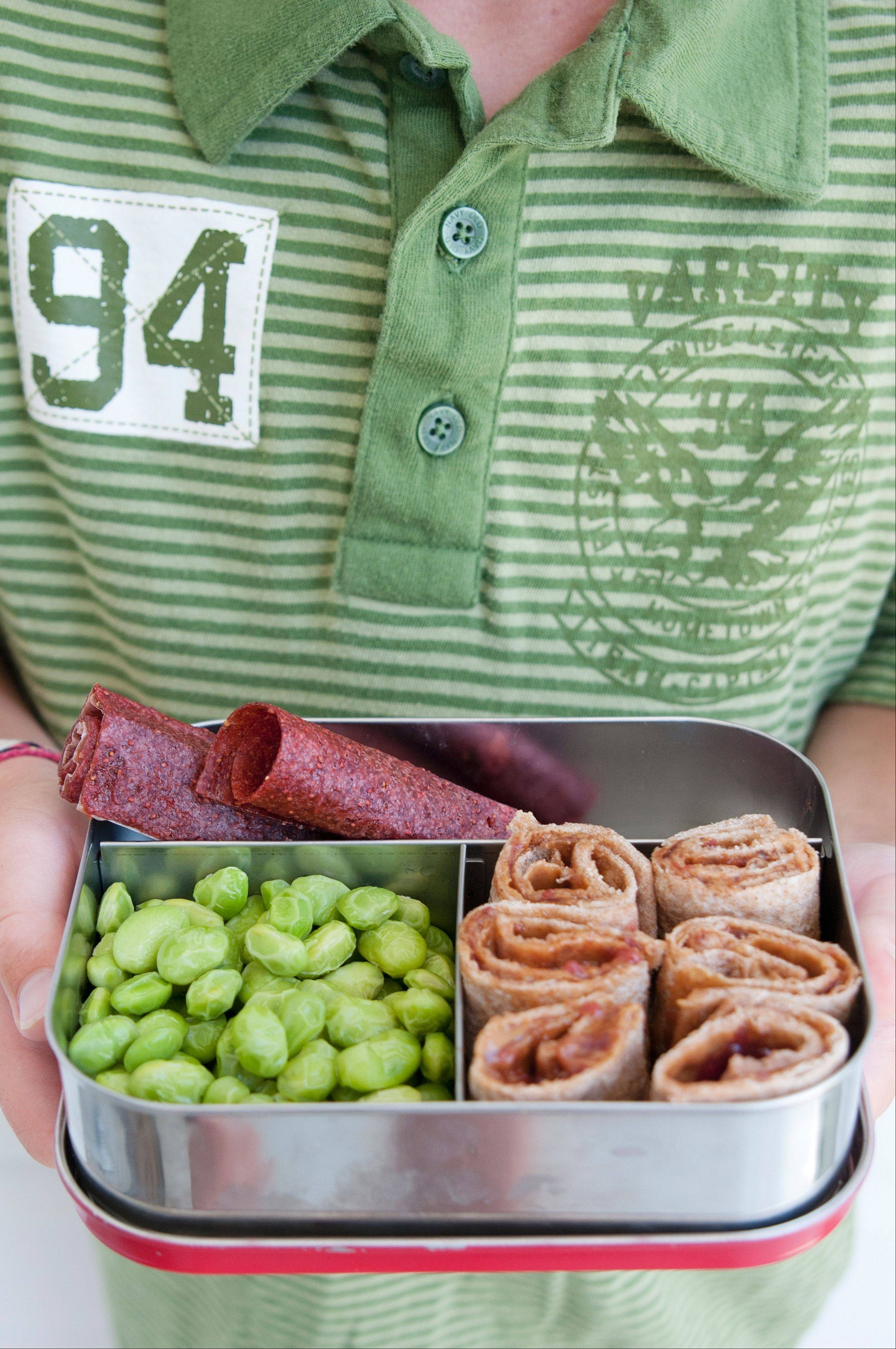 Fruit leather, a veggie and pinwheel sandwiches make a nice lunch for a back-to-school success.