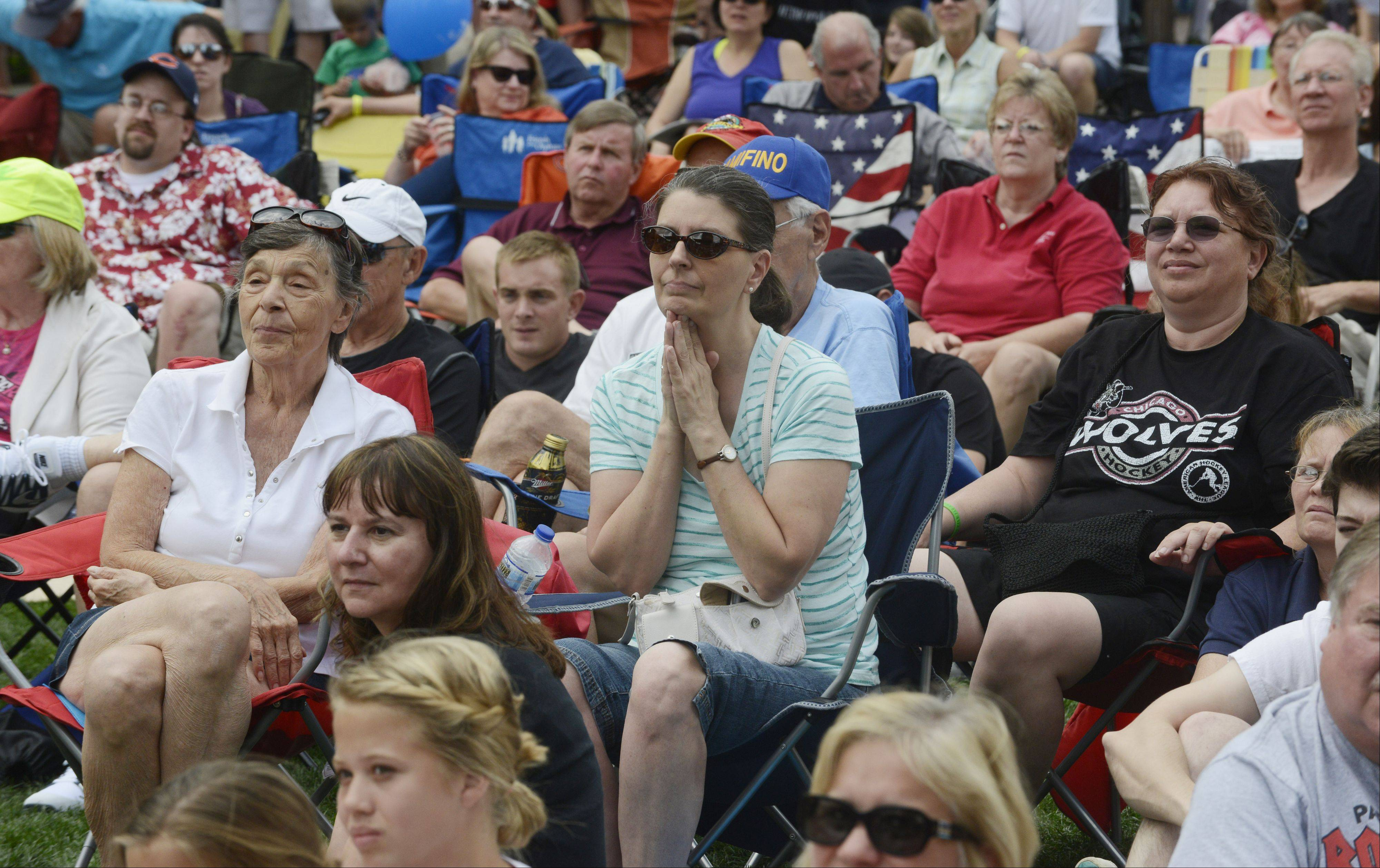 Members of the audience watch as the winner of Suburban Chicago's Got Talent is announced in Arlington Heights Saturday.