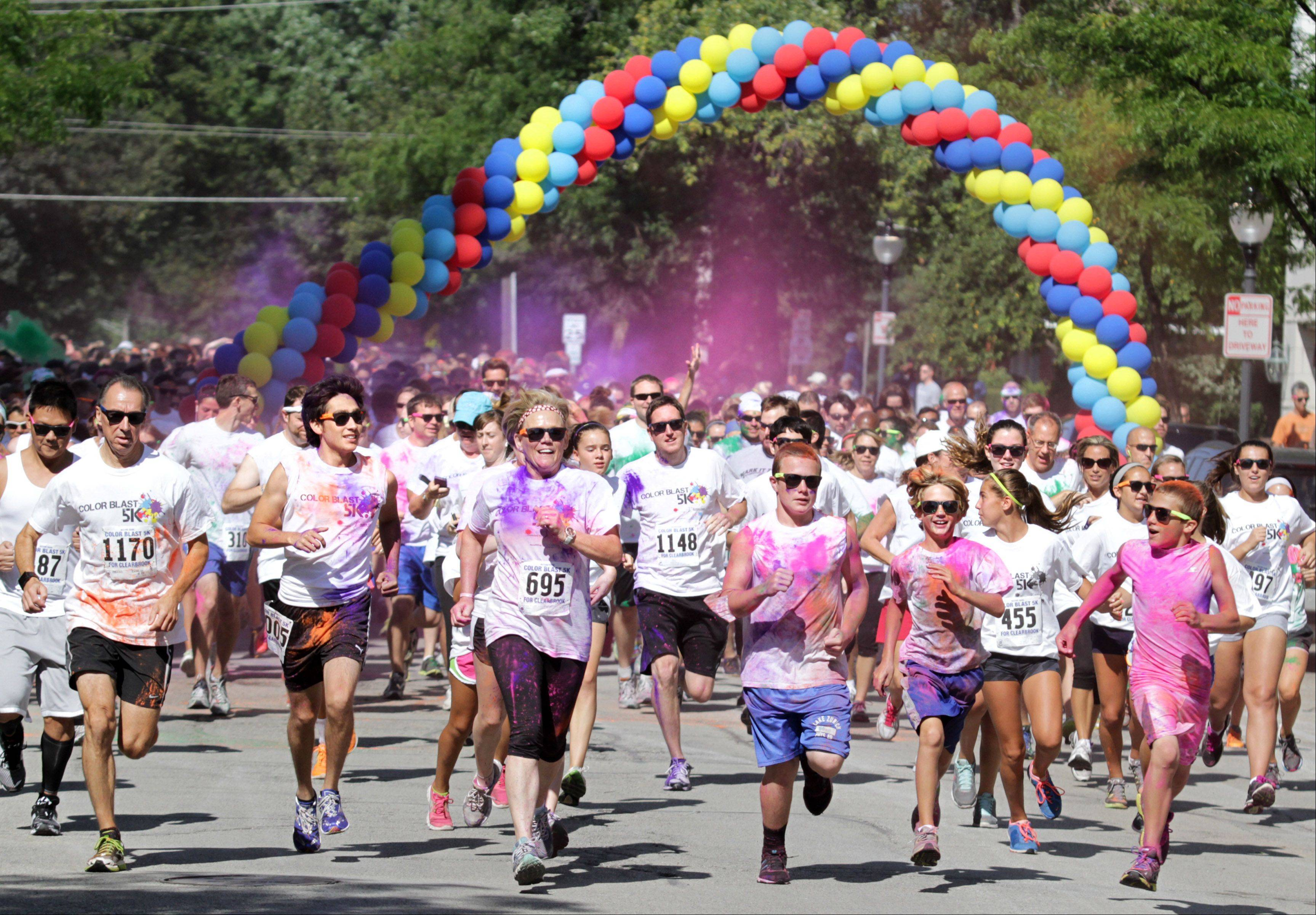 The start of the first Active Care Color Blast 5k run in Arlington Heights on Saturday. All proceeds go to Clearbrook.