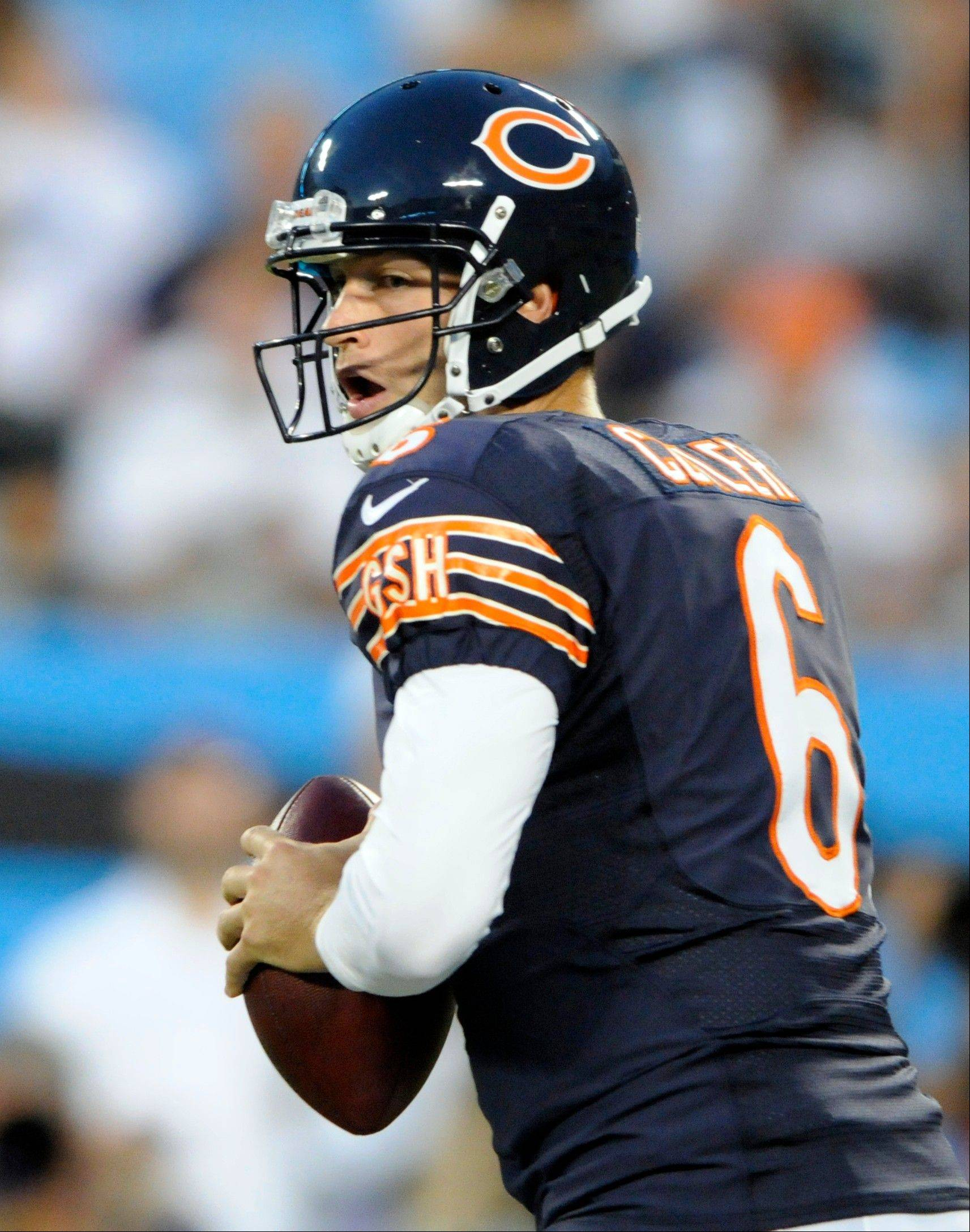 Bears quarterback Jay Cutler looks to pass against the Carolina Panthers during the first half of a preseason NFL football game in Charlotte, N.C., Friday, Aug. 9, 2013.