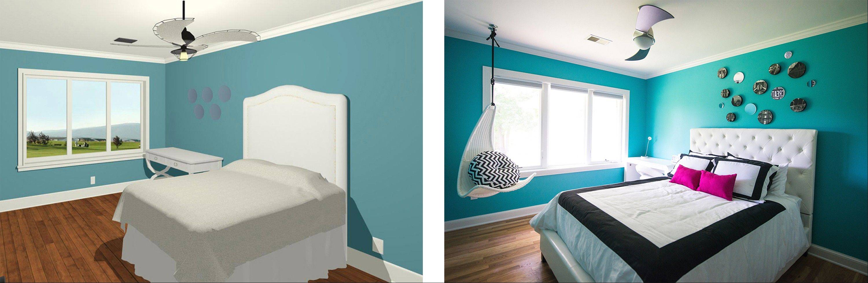 Teddy Wolff/For The Washington Post This 3-D image, left, helped Julie Friedman envision the finished bedroom, right.
