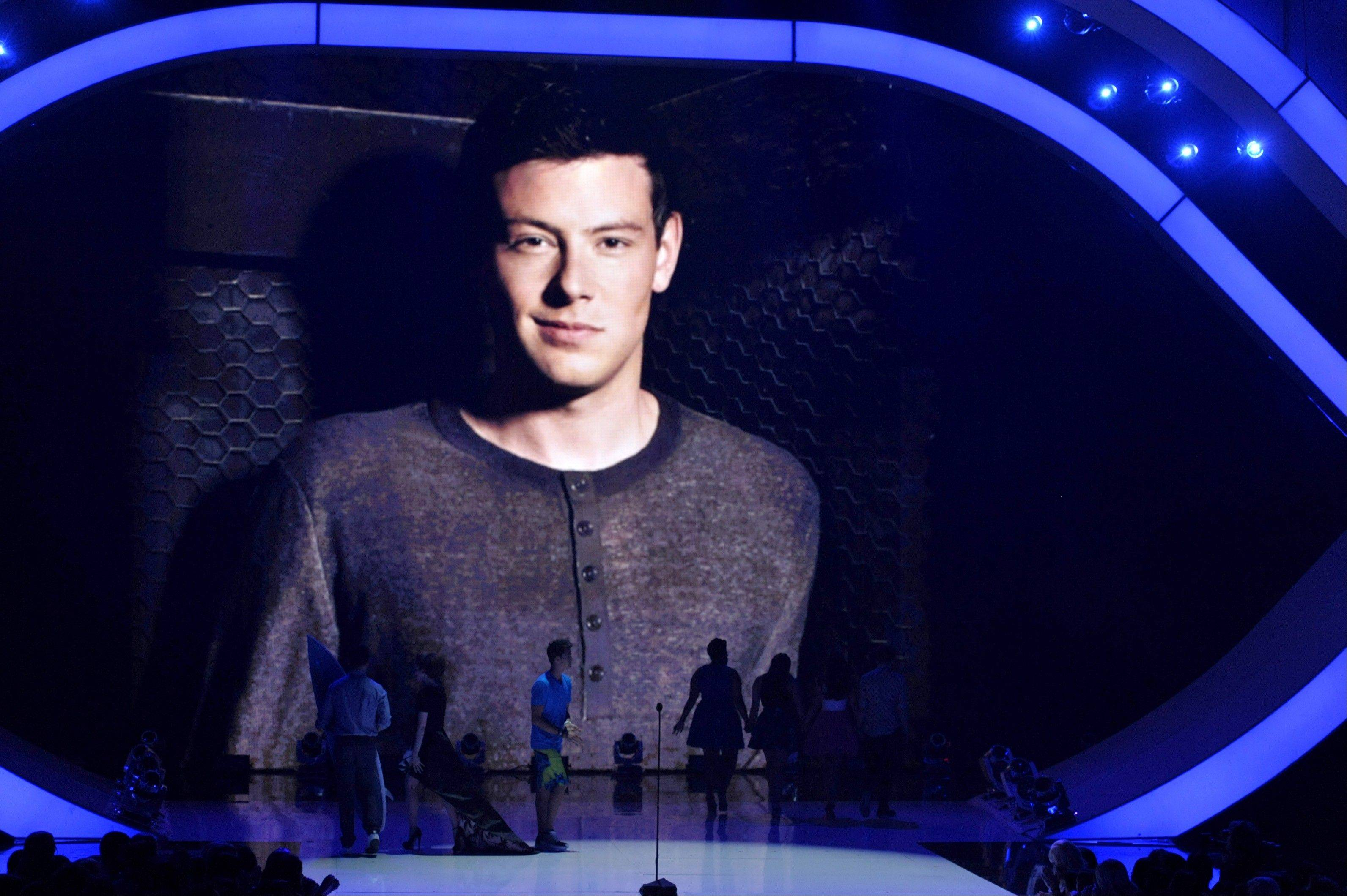 An image of the late Cory Monteith is pictured on screen at the Teen Choice Awards as a tribute at the Gibson Amphitheater on Sunday.