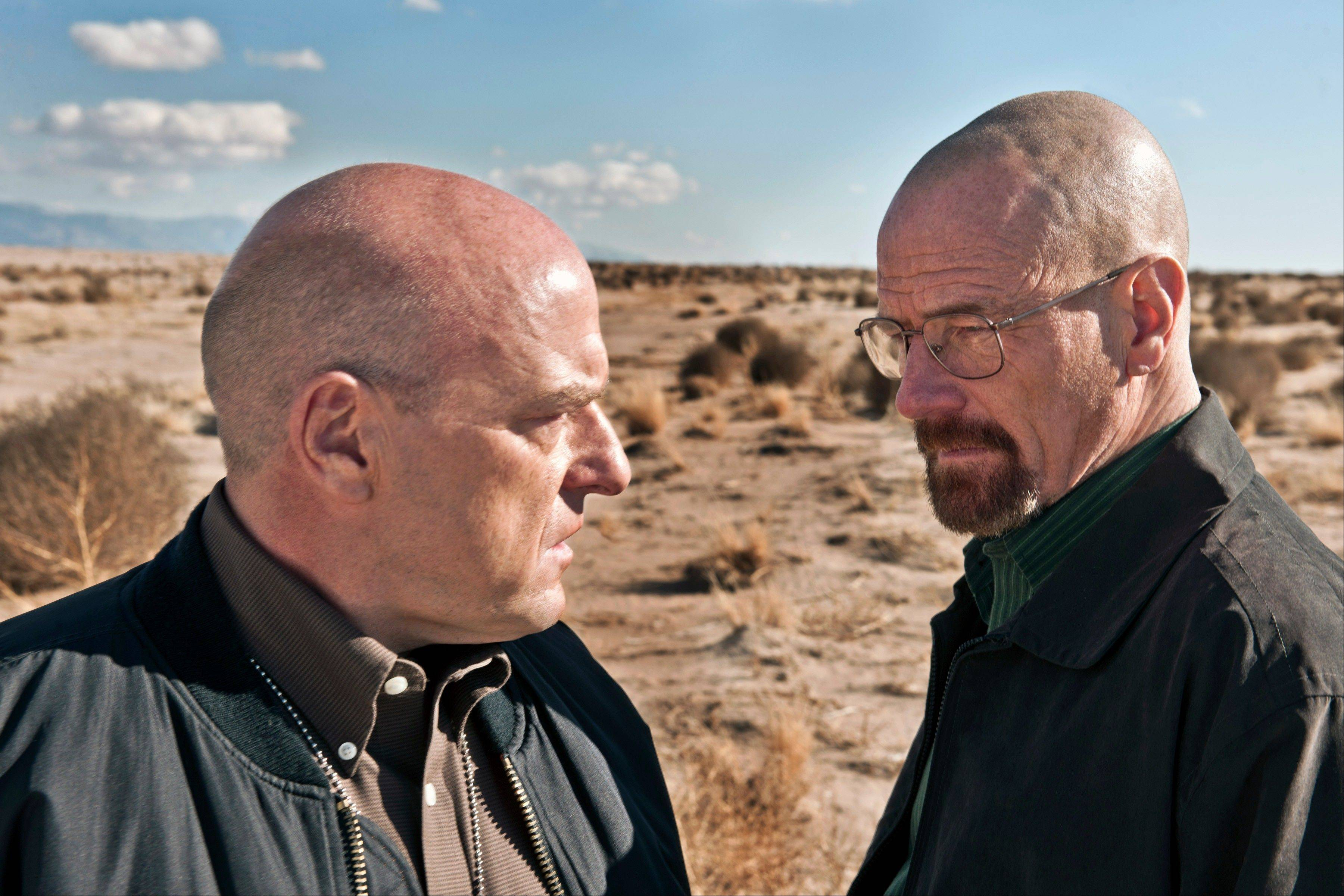 "Dean Norris plays Hank Schrader, left, and Bryan Cranston stars as Walter White in ""Breaking Bad."" The series is returning for its eight final episodes starting Sunday."