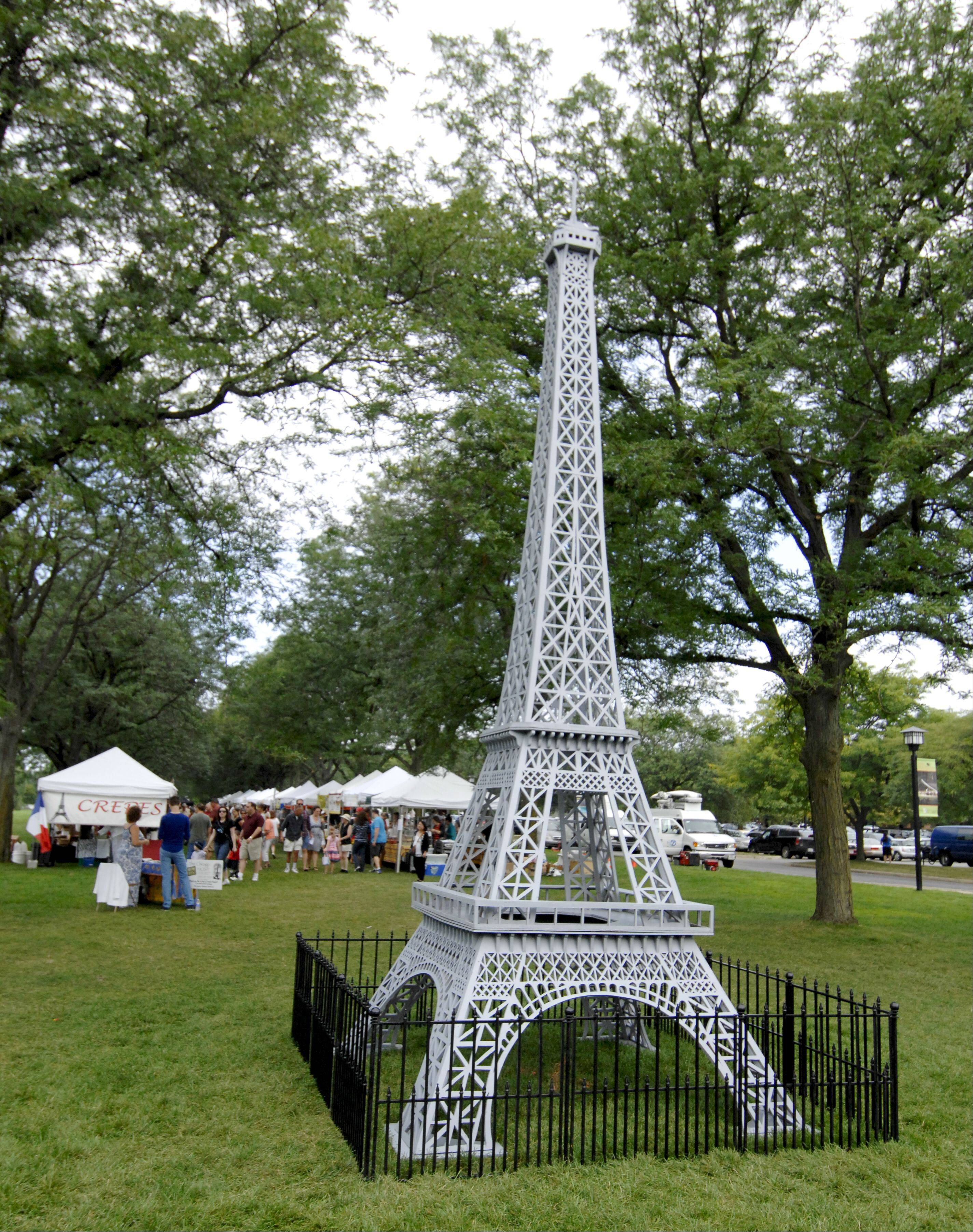 French Connection Day at Cantigny Park in Wheaton included a 23-foot Eiffel Tower where visitors could pose for photos.