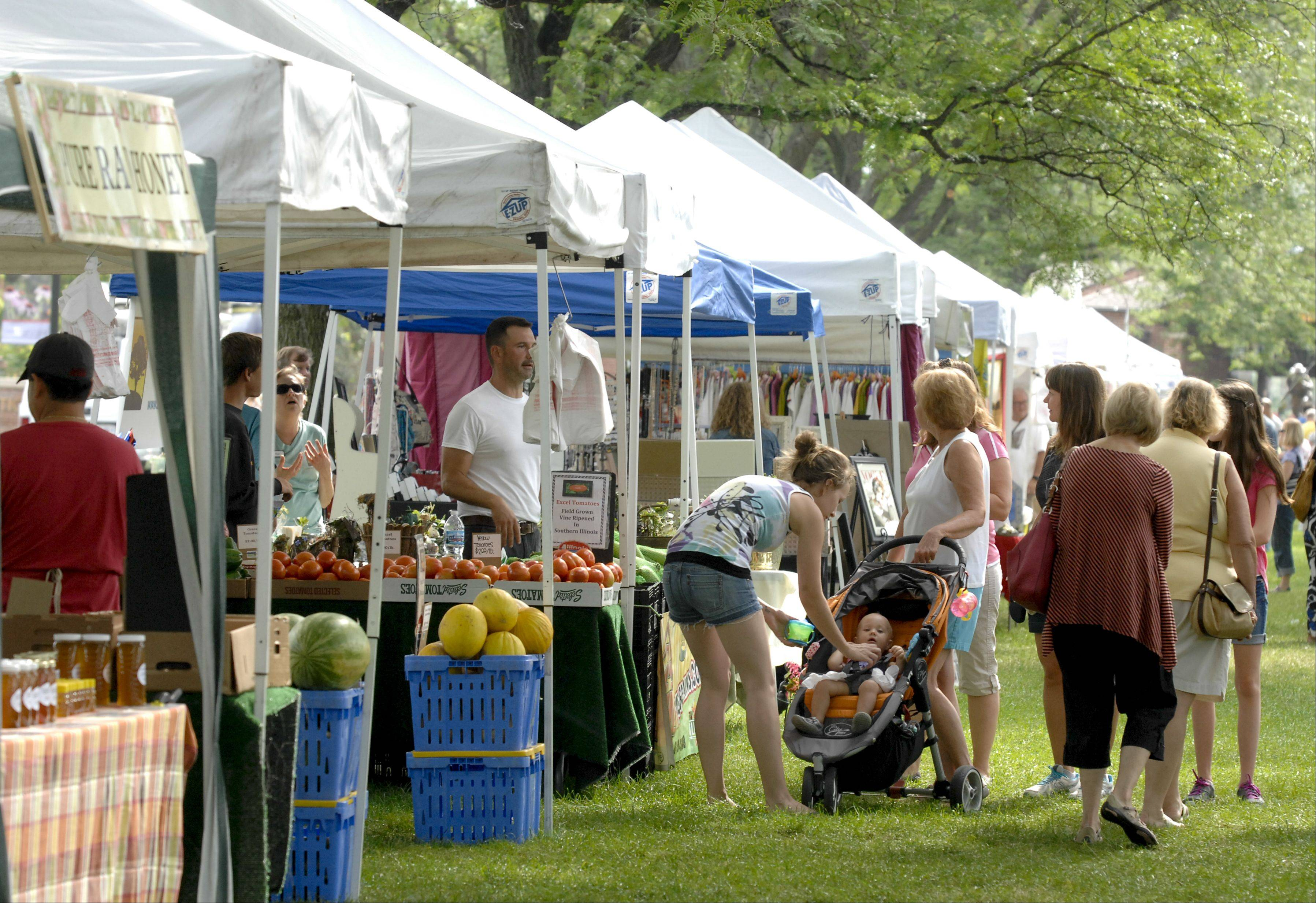 Visitors browse the French market Sunday during French Connection Day at Cantigny Park in Wheaton.