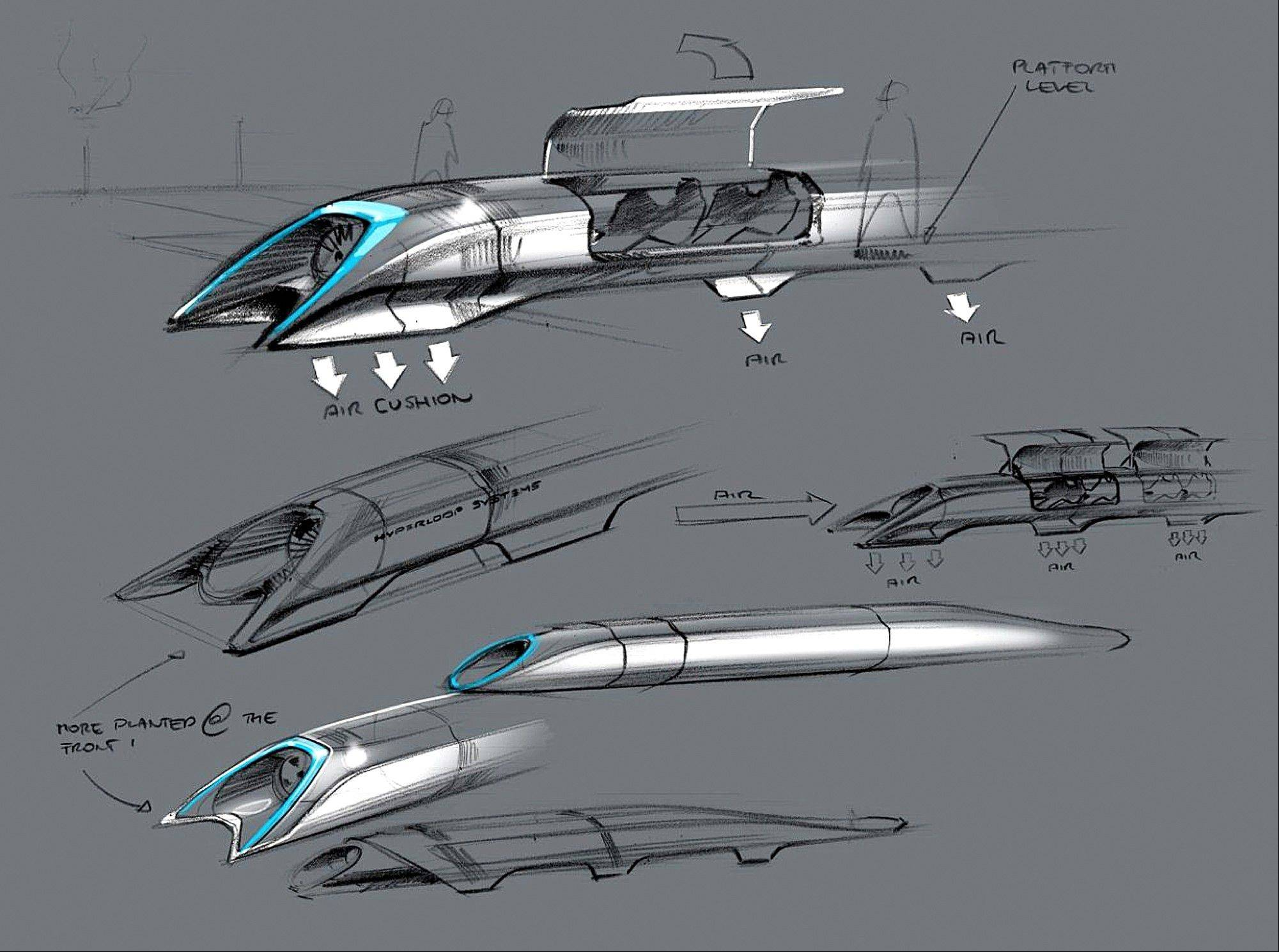This image released by Tesla Motors shows a conceptual design sketch of the Hyperloop passenger transport capsule. Billionaire entrepreneur Elon Musk on Monday, Aug. 12, 2013 unveiled the concept for a transport system he says would make the nearly 400-mile trip in half the time it takes an airplane. The �Hyperloop� system would use a large tube. Inside, capsules would float on air, traveling at over 700 miles per hour.