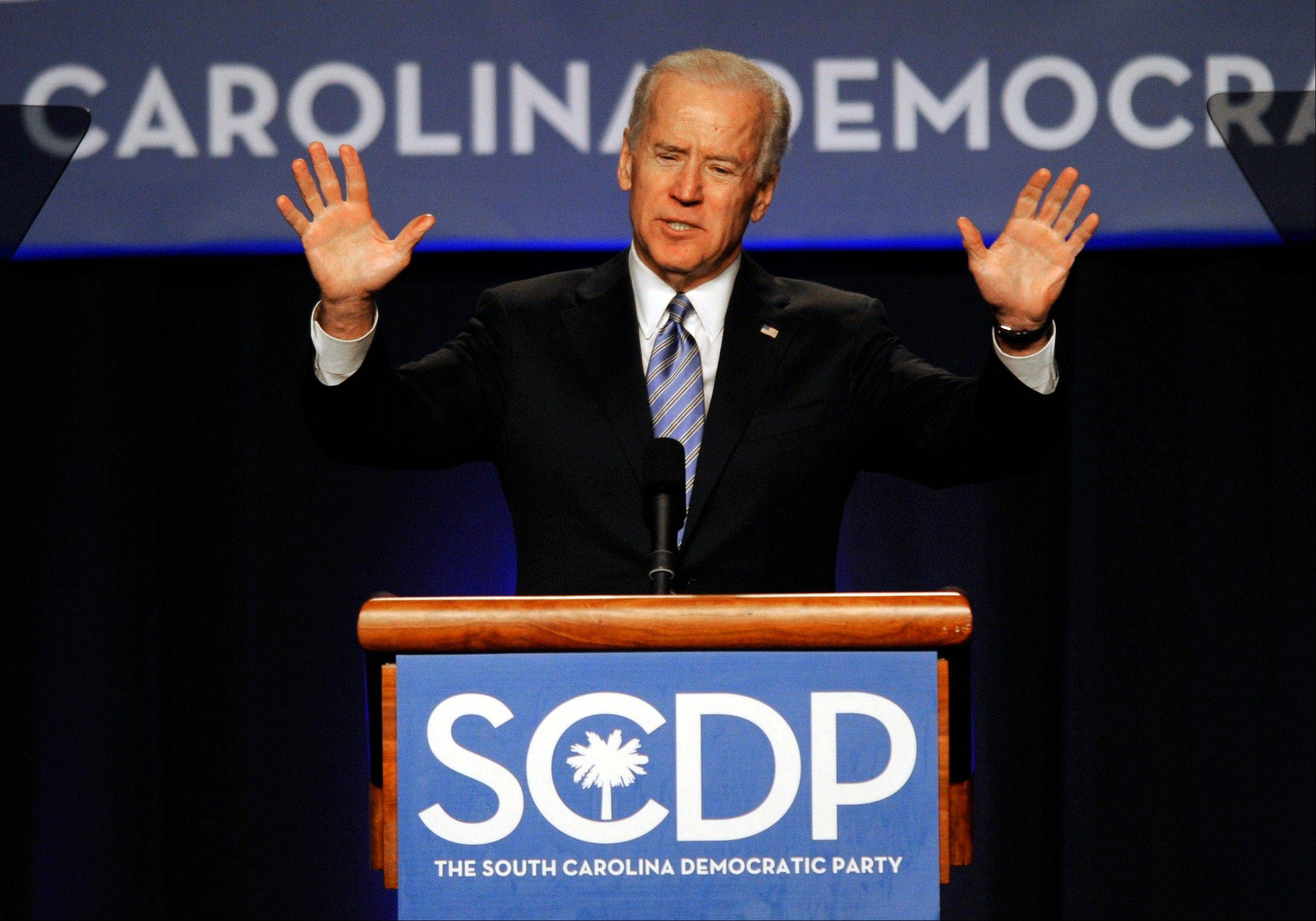 In this May 3, 2013 file photo, Vice President Joe Biden speaks during the South Carolina Democratic parties Jefferson Jackson Dinner in Columbia, SC. Biden may run for president in 2016, or he may not. But he wants you to know he could. Iowa. New Hampshire, South Carolina. Michigan. Three years out from the next presidential election, the vice president is polishing his connections and racking up favors in all the right states to ensure he stays part of the conversation, keeping his name near the top of a list of likely contenders even if the prime spot seems to have already been claimed by Hillary Rodham Clinton.