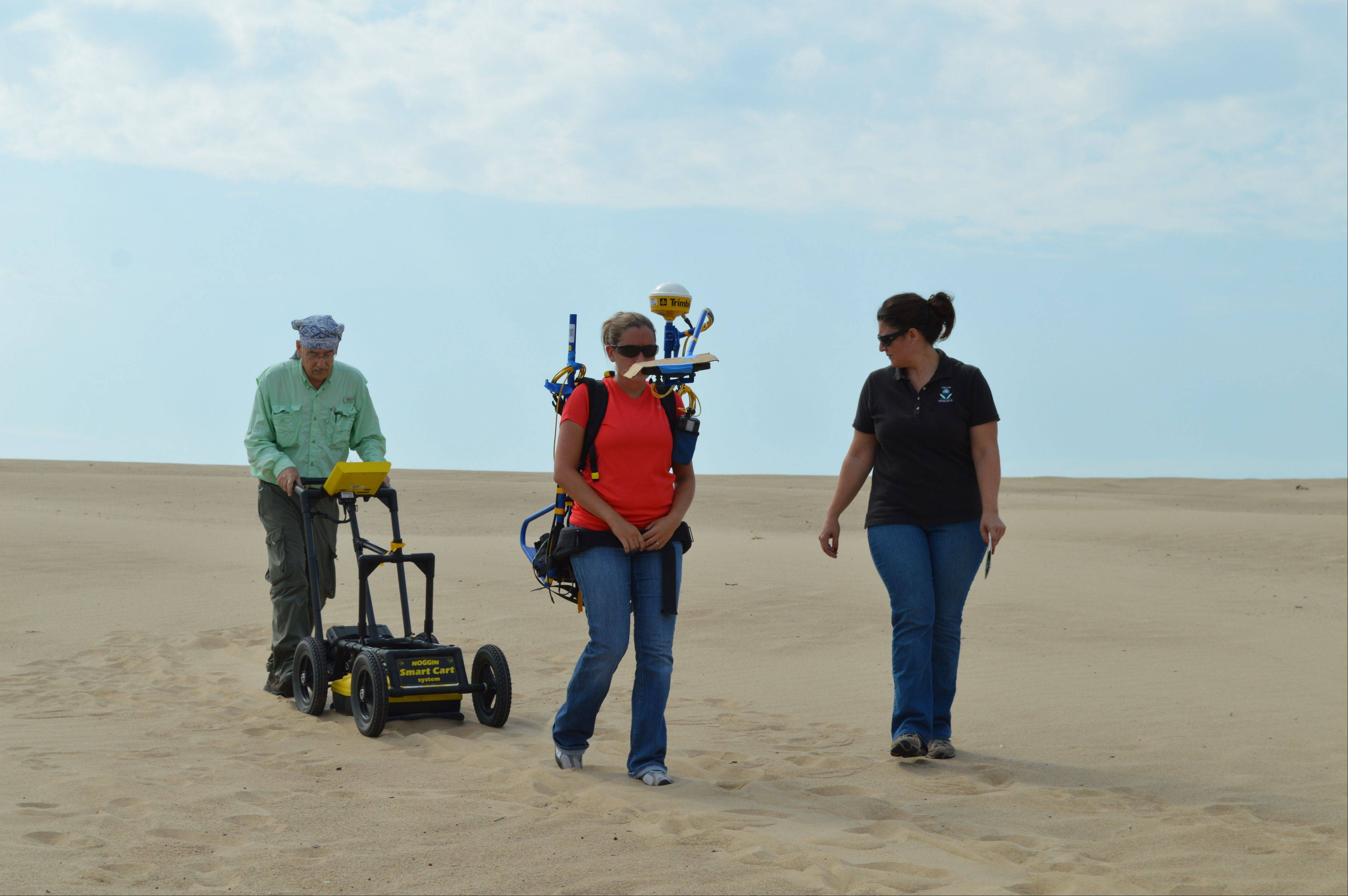 Environmental Protection Agency scientists use ground-penetrating radar equipment at Mount Baldy at the Indiana Dunes National Lakeshore on Monday near Michigan City, Ind. They are gathering data todetermine the safety of a northern Indiana sand dune that collapsed and buried a young boy under 11 feet of sand.
