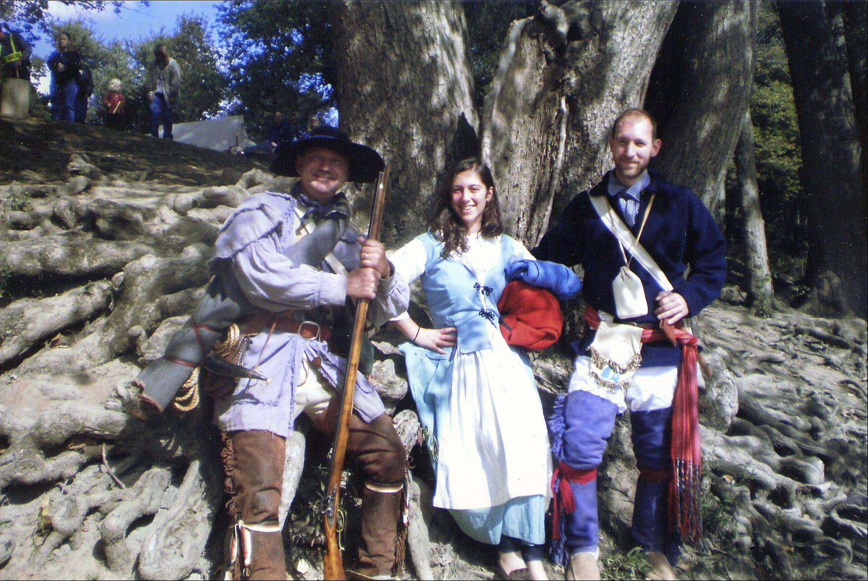 David Nordin, his son's girlfriend Emily and his son, Steve, portray Revolutionary War-era residents of Illinois.