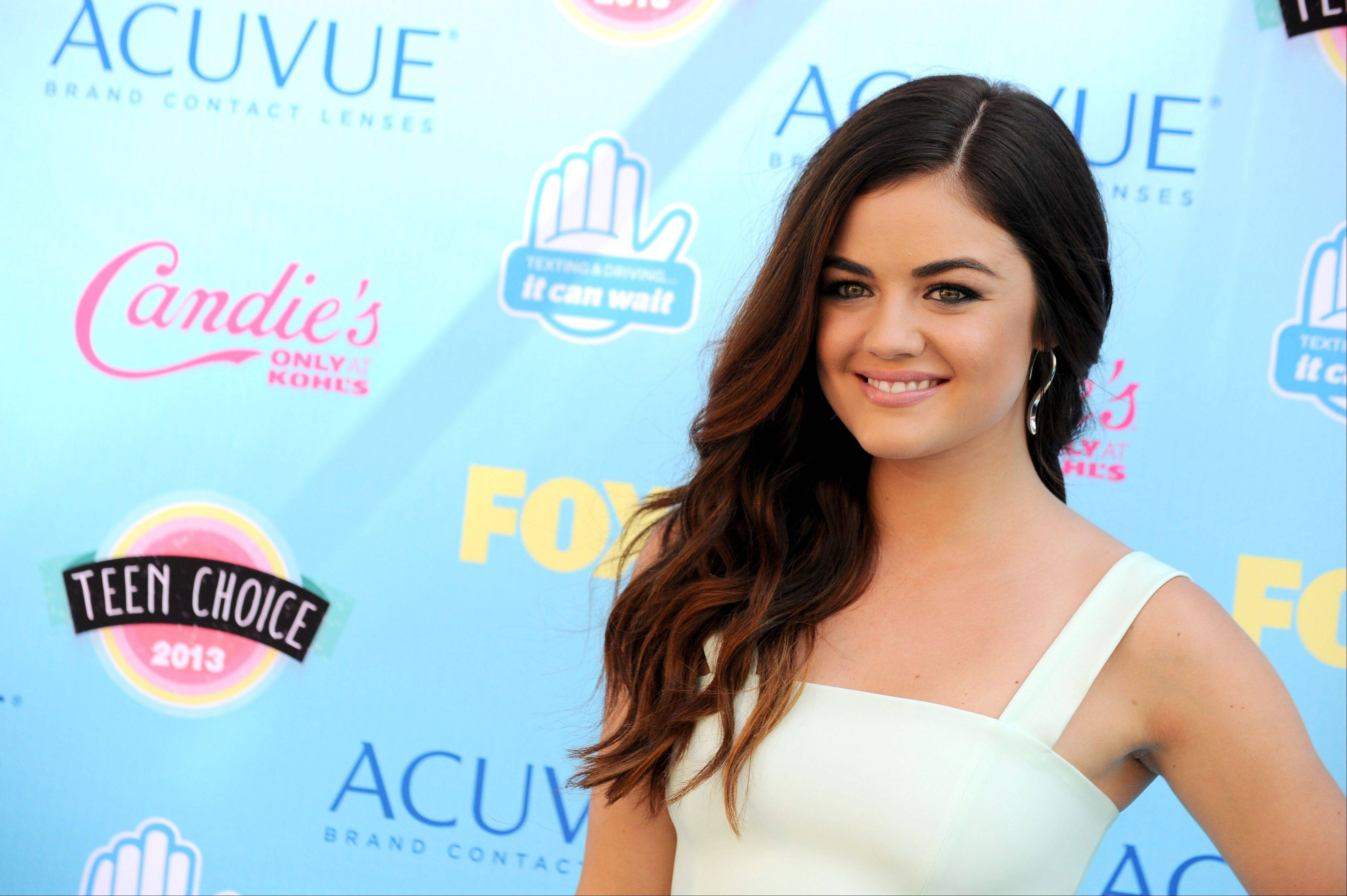 """Pretty Little Liars"" star Lucy Hale arrives at the Teen Choice Awards at the Gibson Amphitheater on Sunday in Los Angeles."