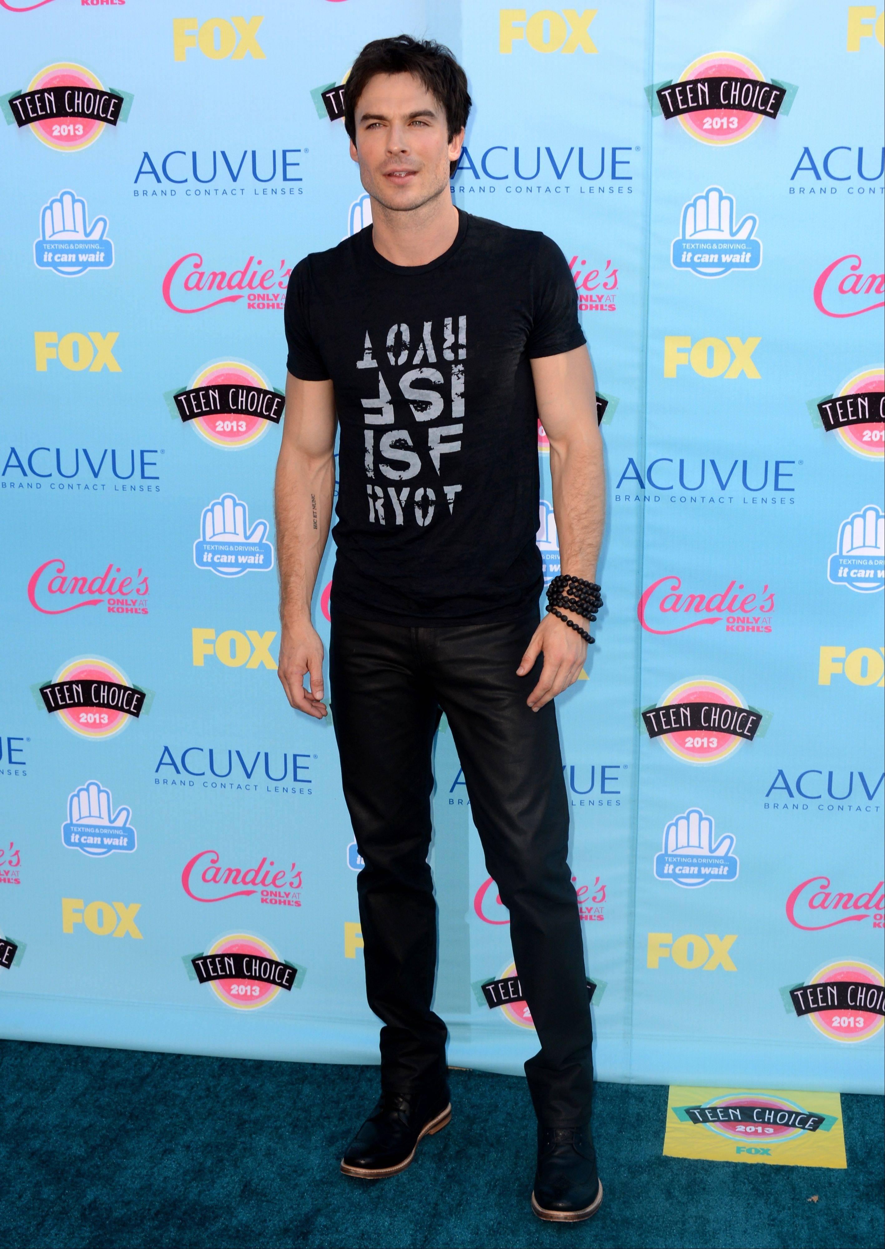 """The Vampire Diaries"" star Ian Somerhalder arrives at the Teen Choice Awards at the Gibson Amphitheater on Sunday."