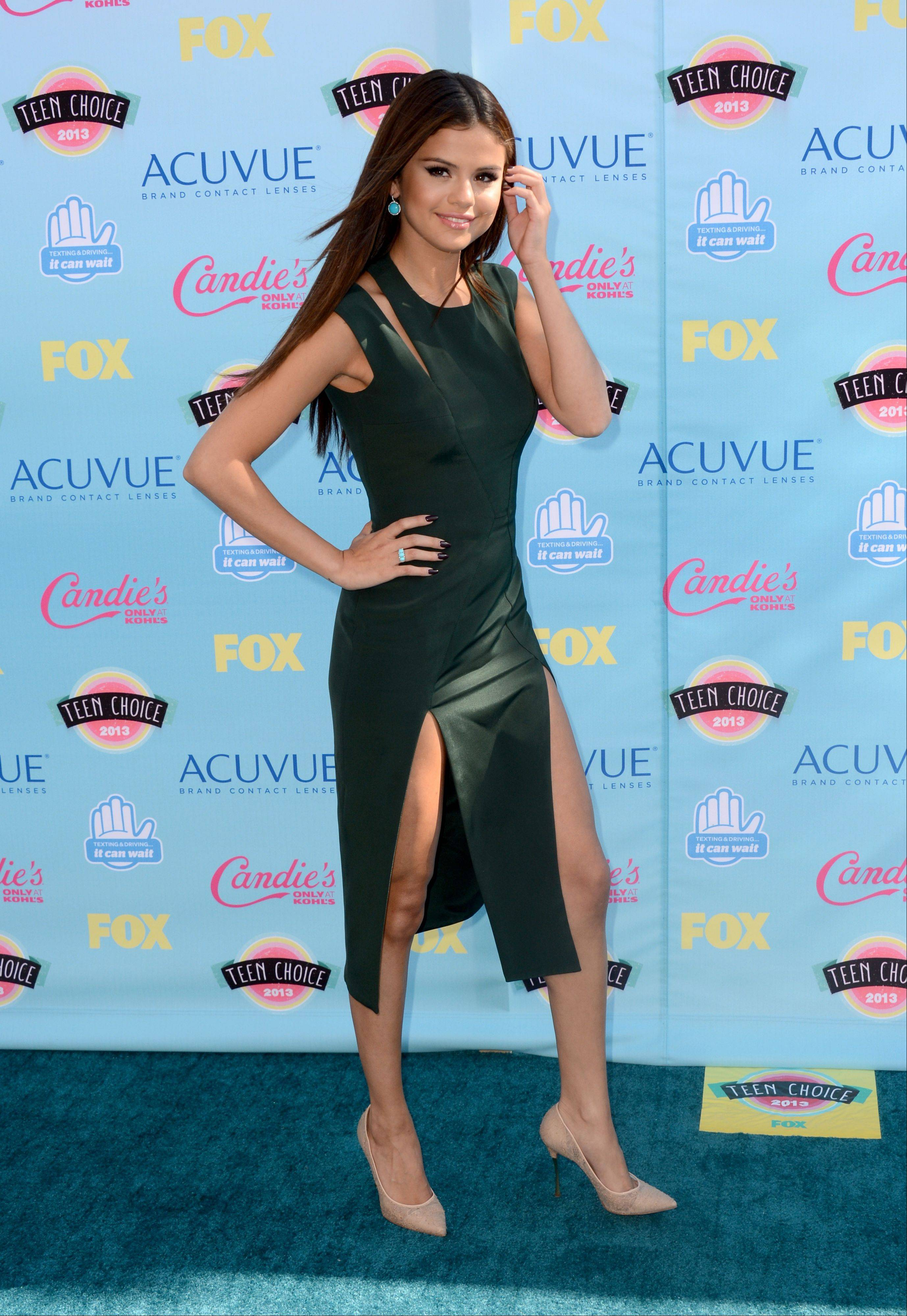 Actress, singer and Teen Choice Award nominee Selena Gomez arrives at the Teen Choice Awards at the Gibson Amphitheater on Sunday.