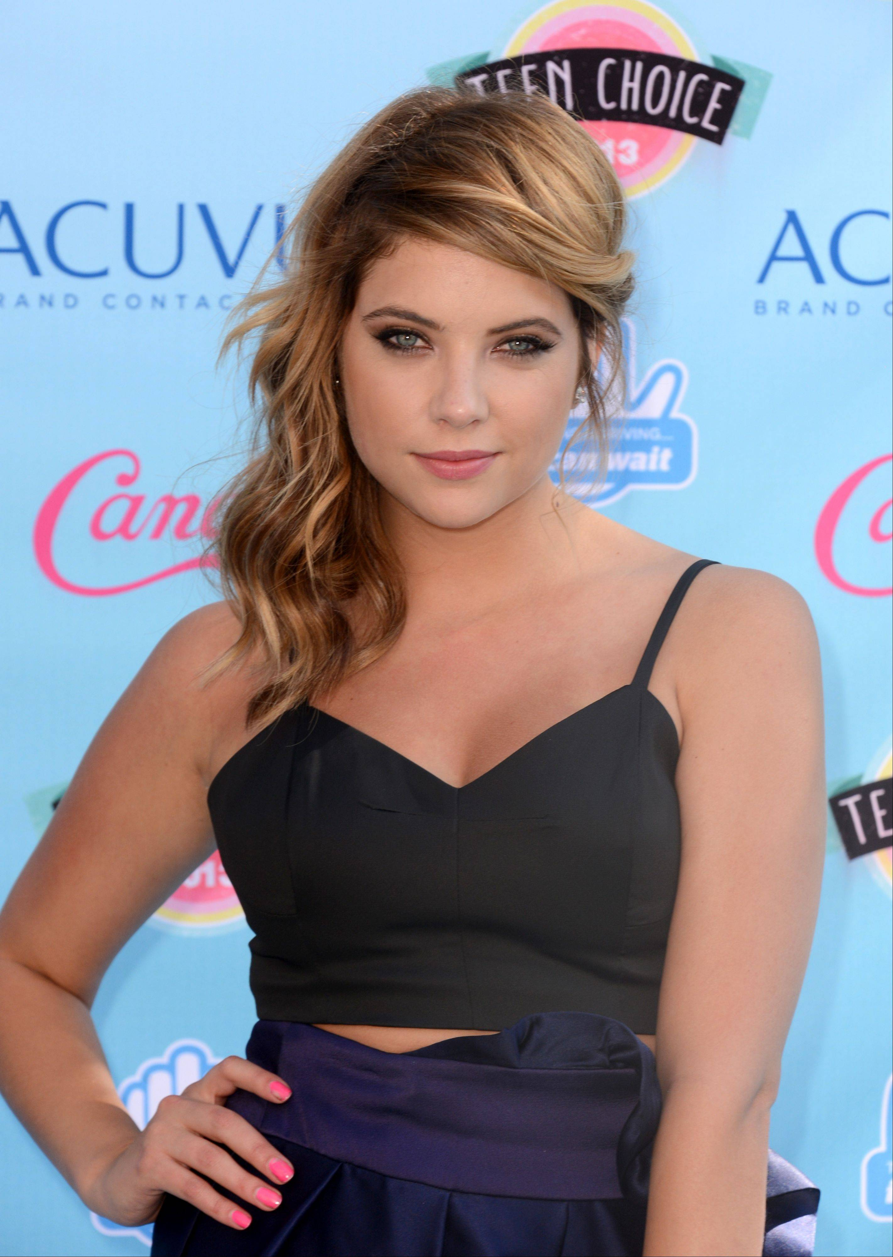 """Pretty Little Liars"" star Ashley Benson arrives at the Teen Choice Awards at the Gibson Amphitheater on Sunday in Los Angeles."
