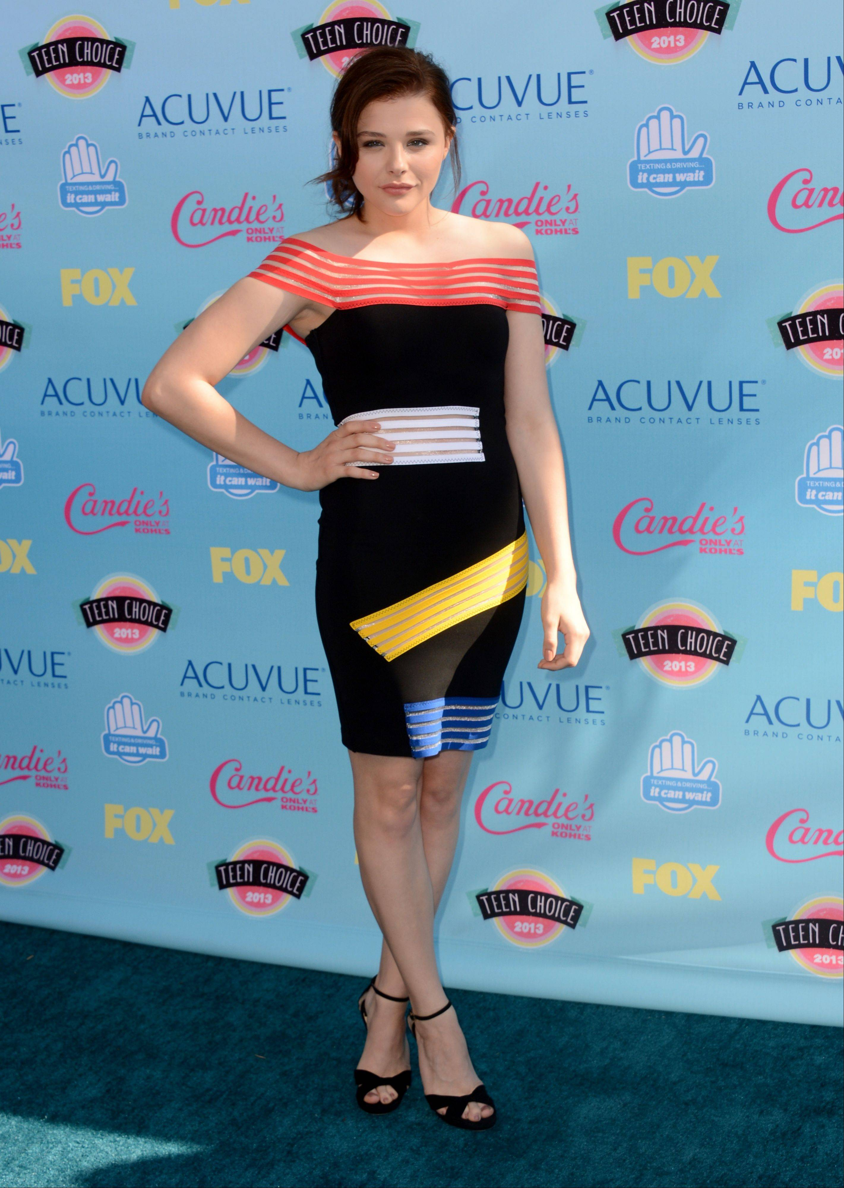 Actress Chloe Grace Moretz arrives at the Teen Choice Awards at the Gibson Amphitheater on Sunday.