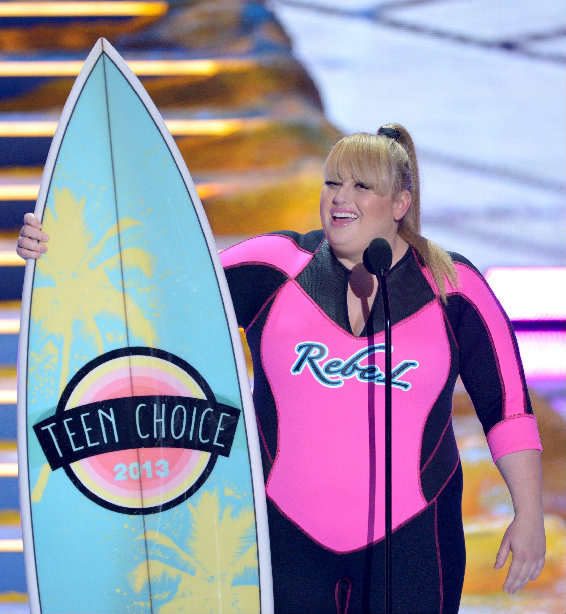 "Rebel Wilson accepts the award for choice movie actress: comedy for ""Pitch Perfect"" at the Teen Choice Awards at the Gibson Amphitheater on Sunday."
