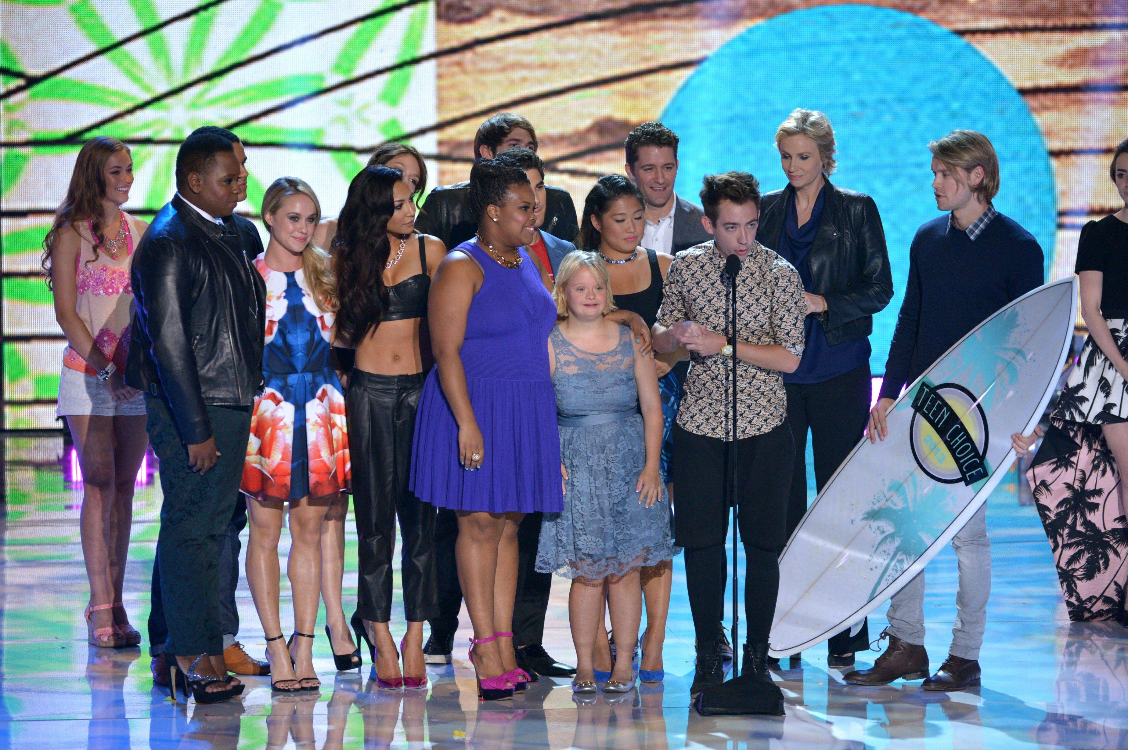 "Cast members from ""Glee"" accept the award for choice TV show: comedy at the Teen Choice Awards at the Gibson Amphitheater on Sunday."