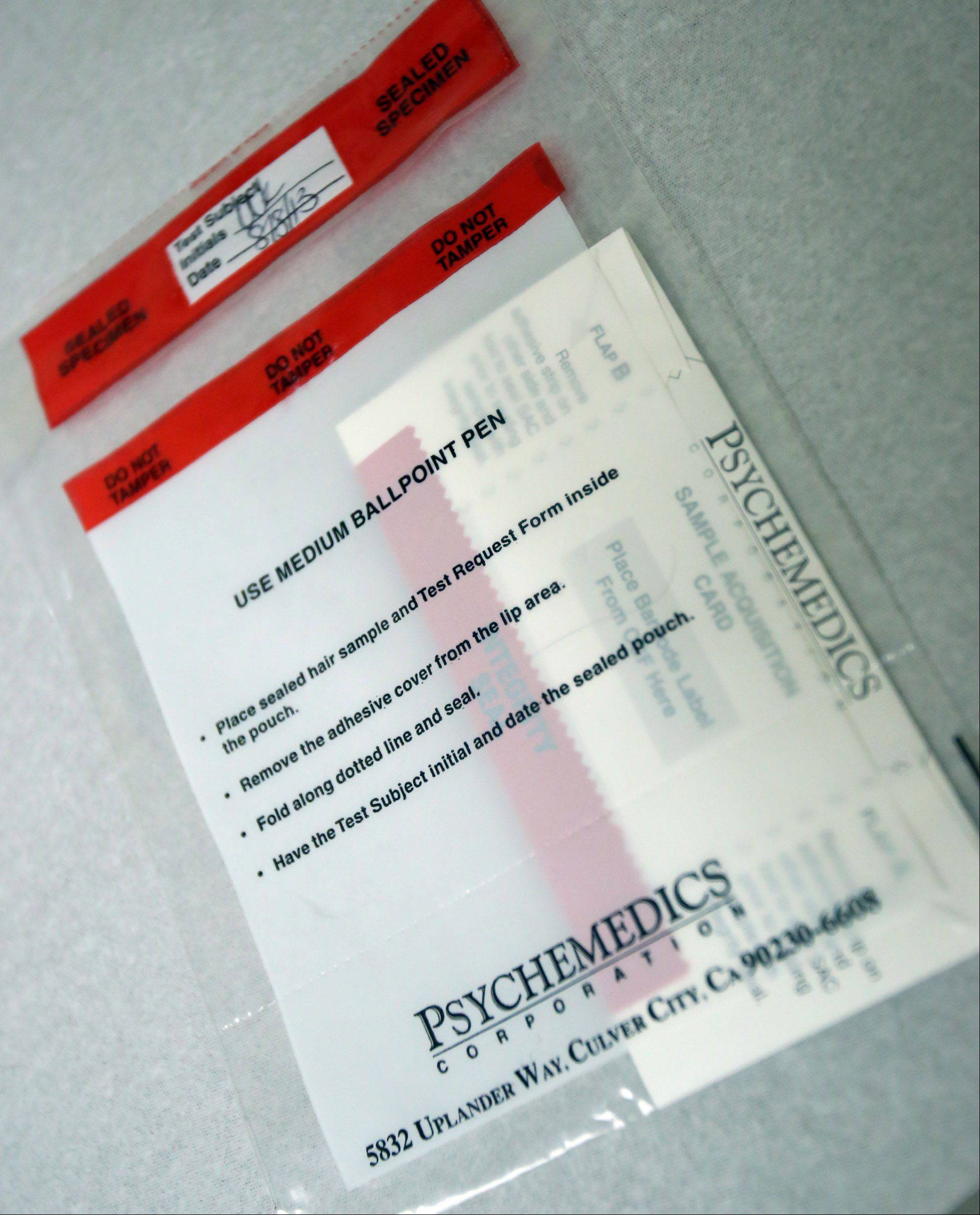 A hair sample bag for drug testing at Alexian Brothers Medical Group Immediate Care center in Palatine.