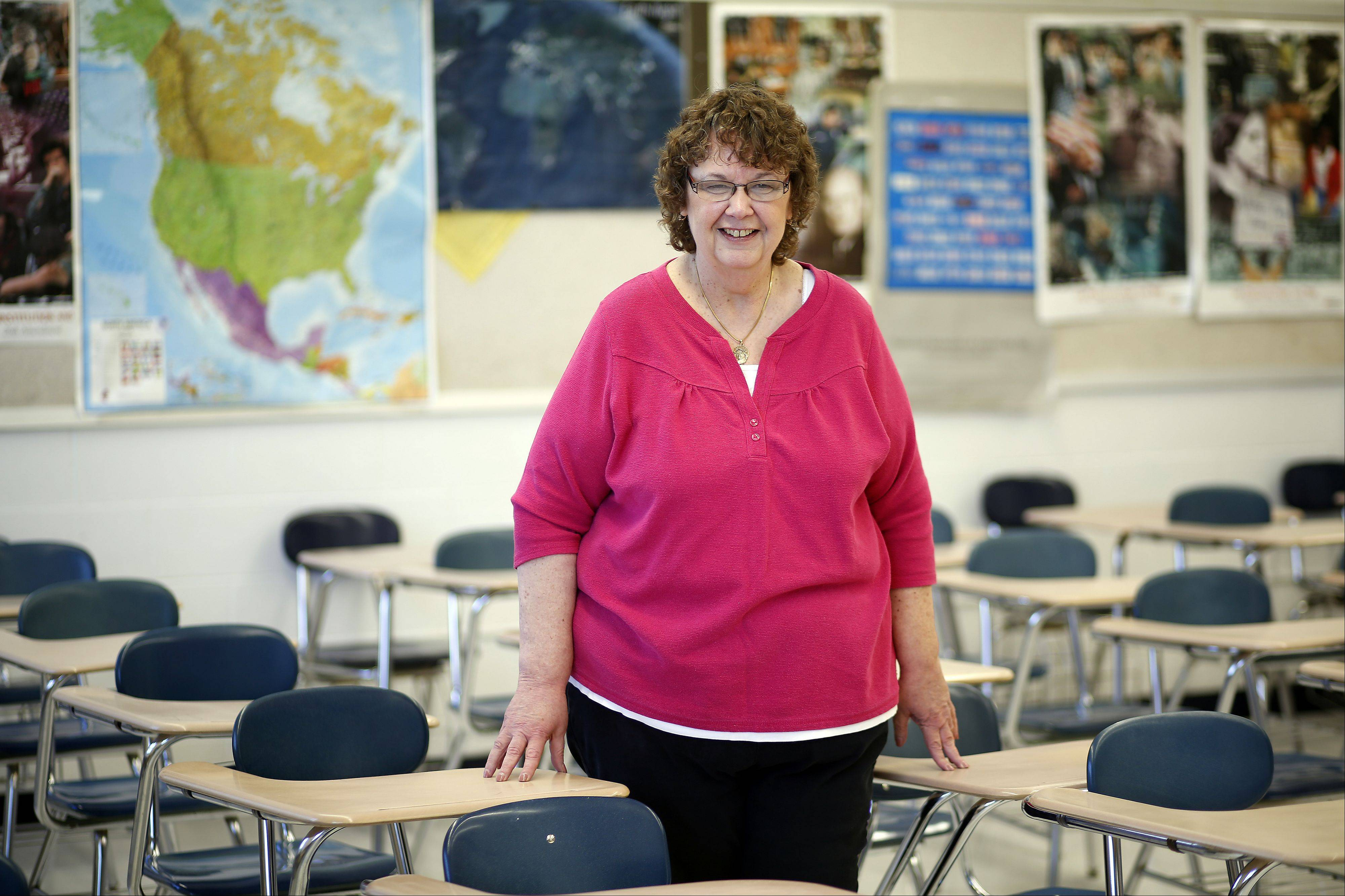 Karen Leinen is a special-education teacher at Dundee-Crown High School in Carpentersville. She co-teaches American government with Matt Michalski in the classroom pictured here and also serves students in smaller resource rooms.