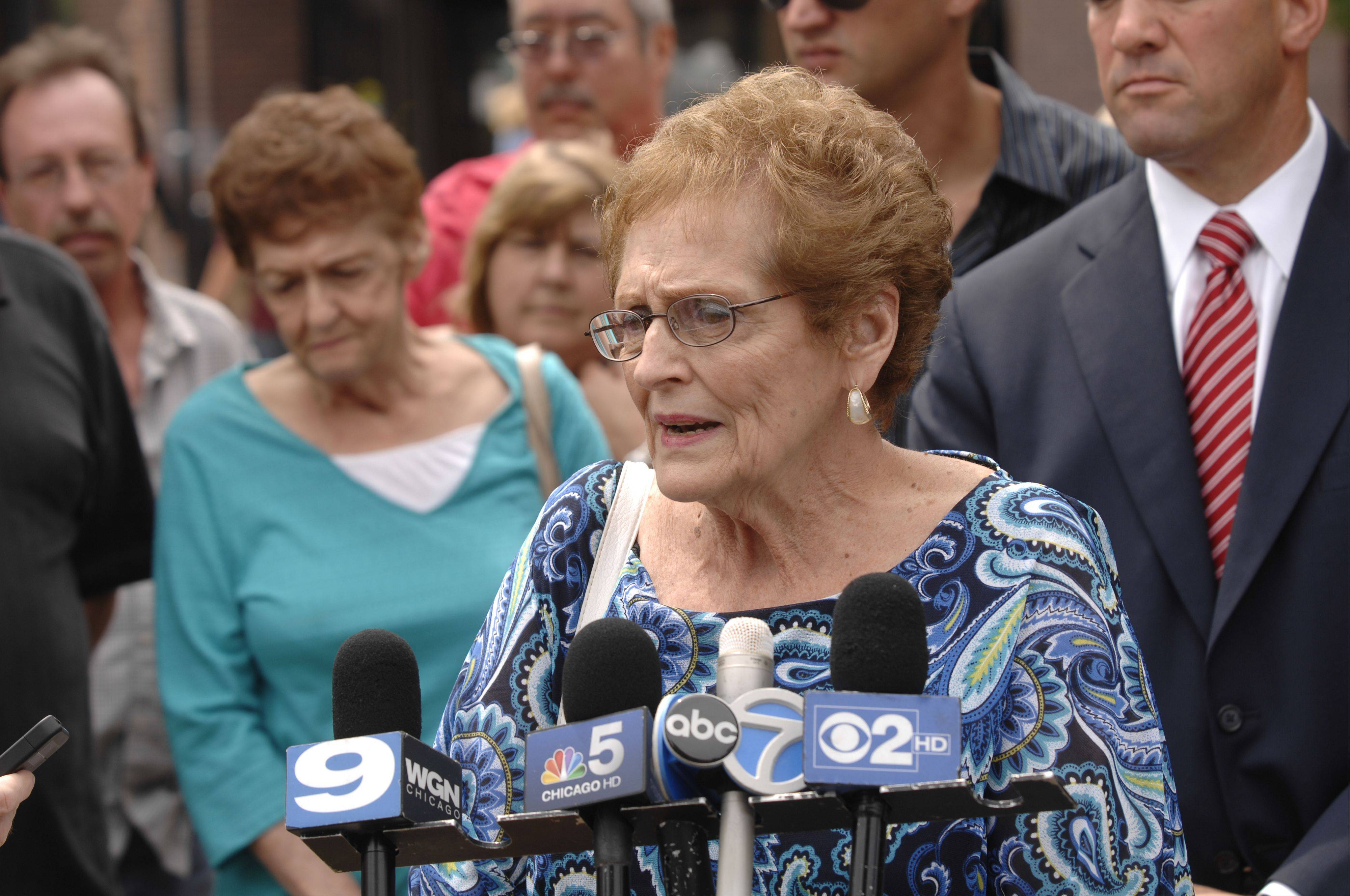 Judy Pokorny, mother of murder victim Jeffery Kramer, reacts Monday to the 75-year sentence handed down to Jacob Nodarse for the triple murder of members of the Kramer family in Darien in 2010.