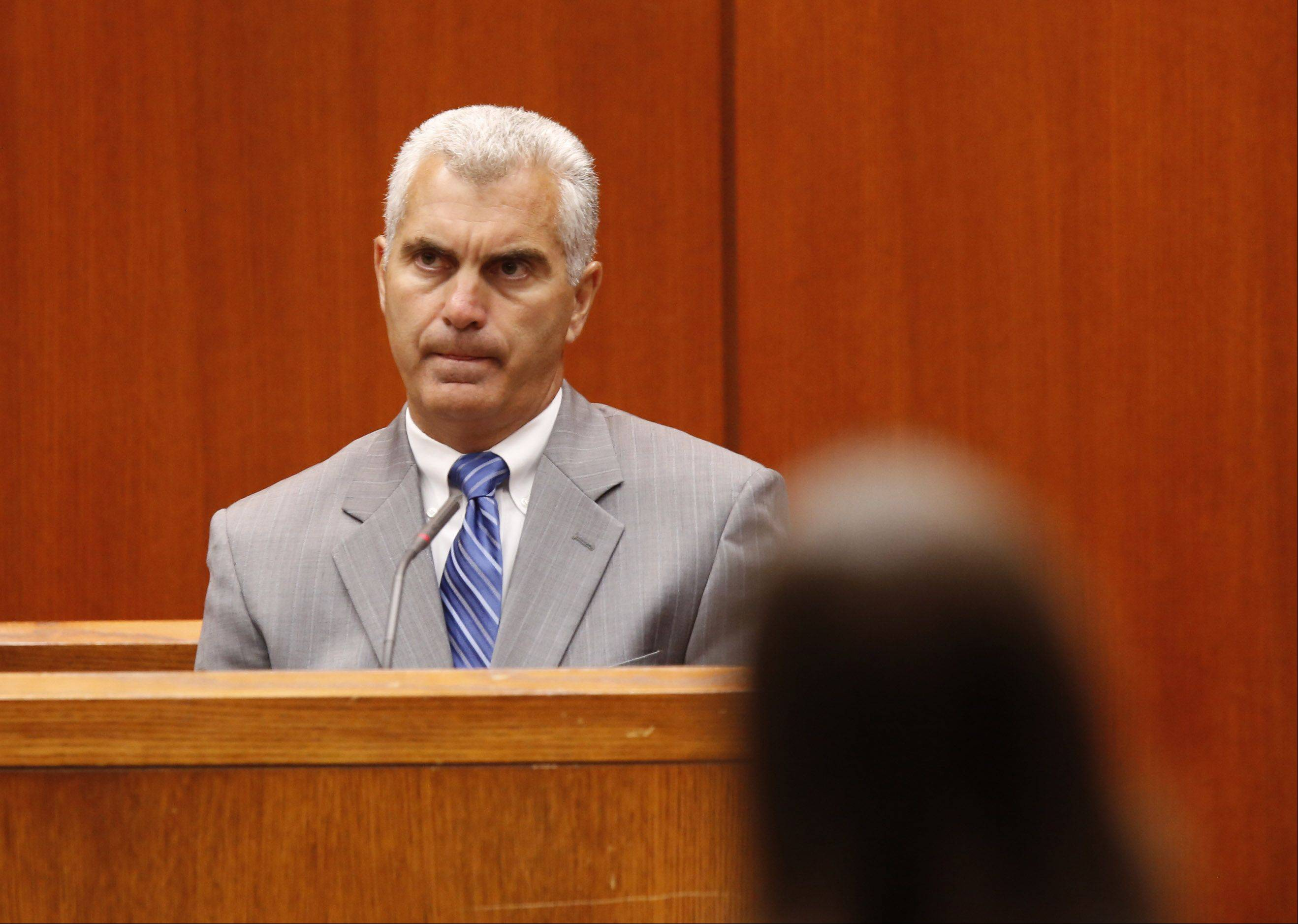 DuPage County Assistant State's Attorney Joe Ruggiero addresses the court Monday during the sentencing of Jacob Nodarse at the DuPage County Courthouse in Wheaton.